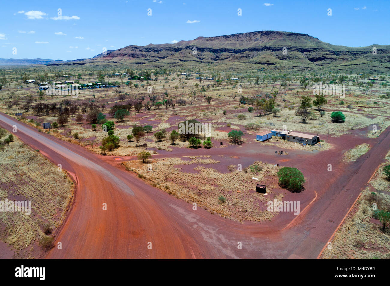 Arial view over the abandoned asbestos mining town of Wittenoom, Pilbara, Western Australia - Stock Image