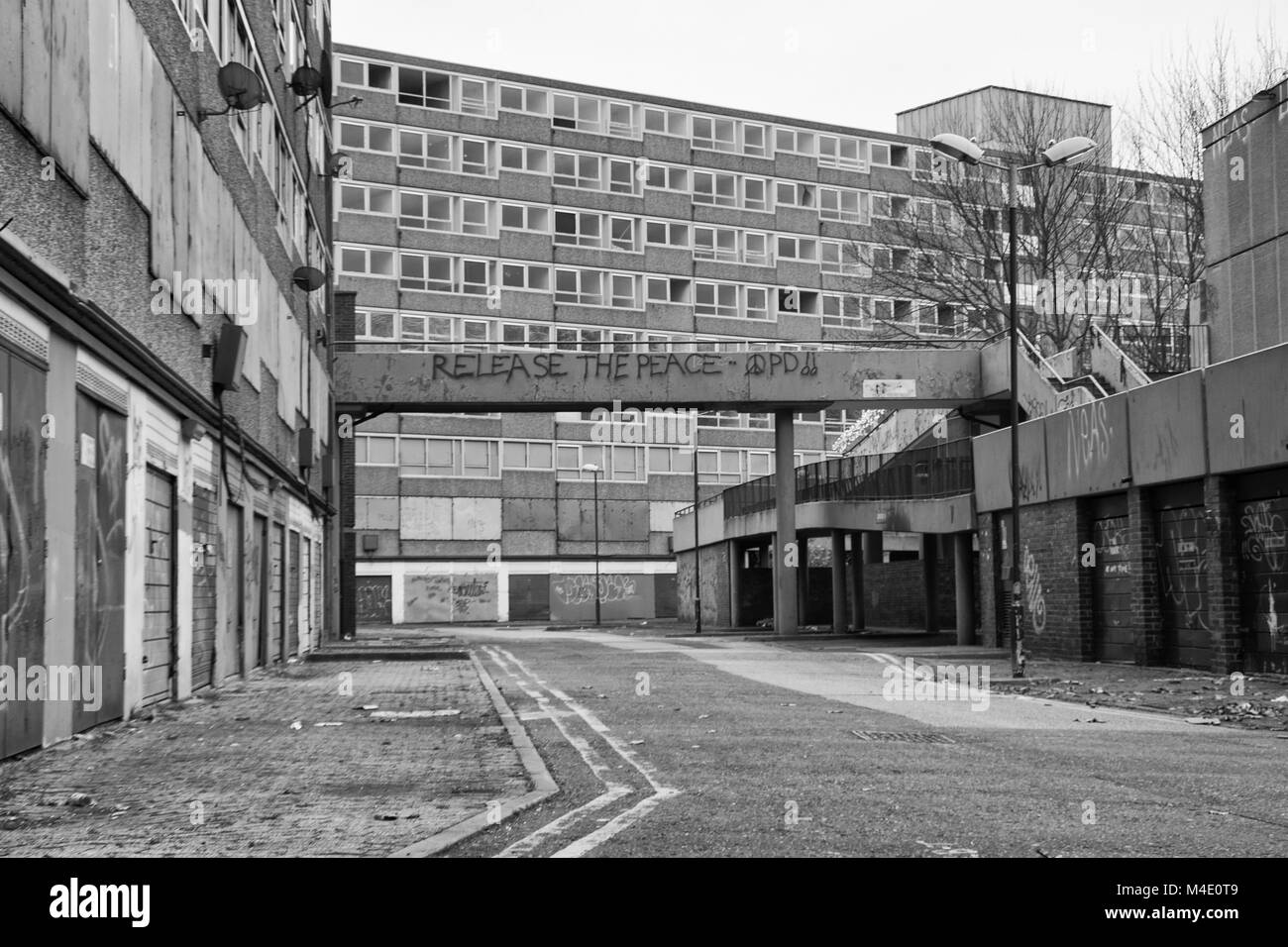 Black white photograph of the heygate estate southwark south london photographed just