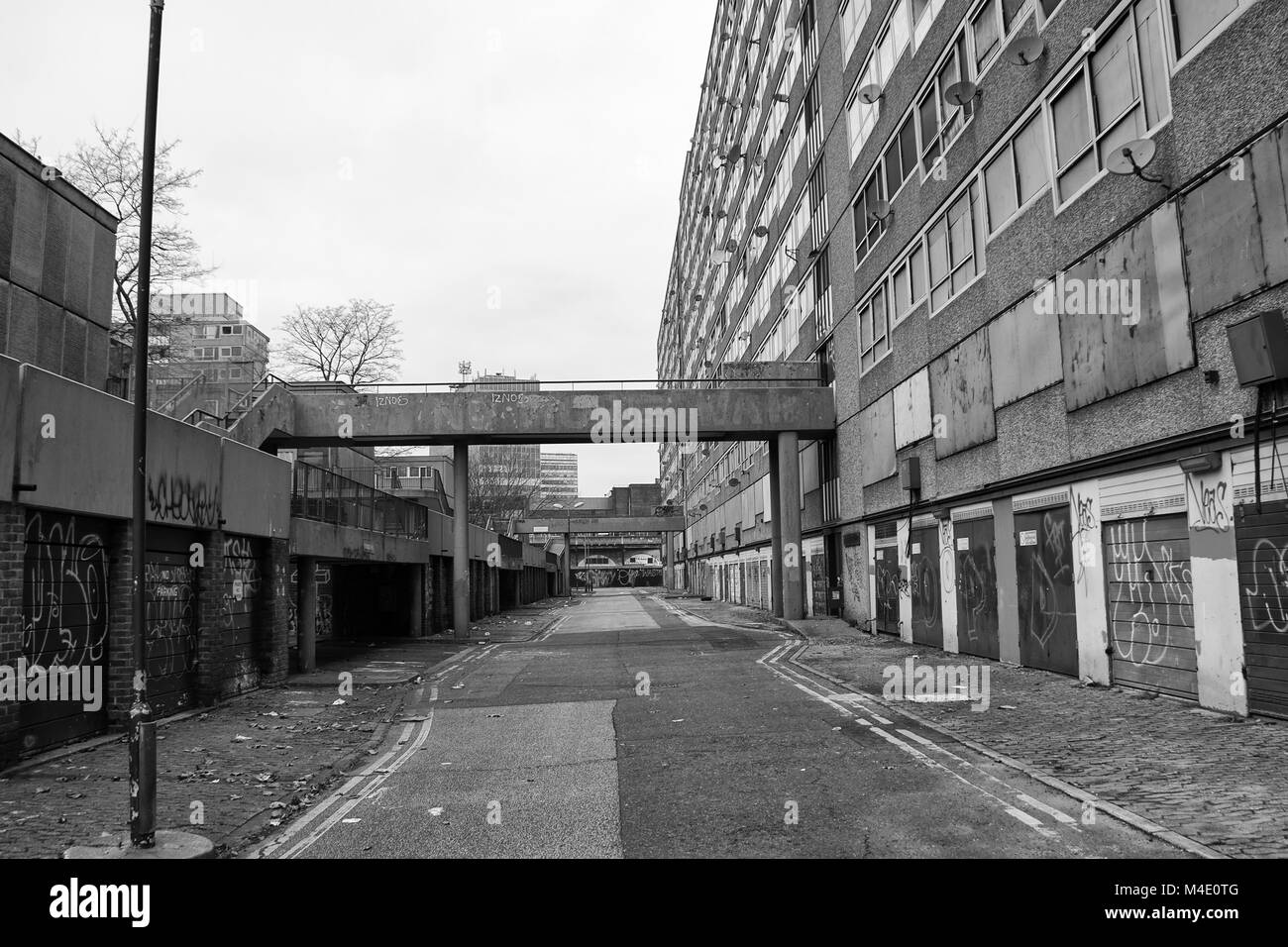 Black & White Photograph of the Heygate Estate, Southwark, South London. Photographed just before it was demolished. - Stock Image