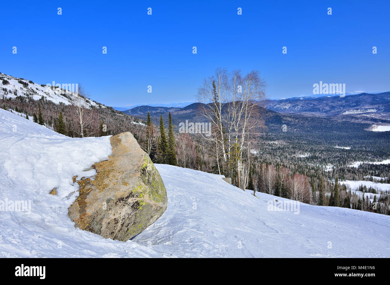 Early spring landscape in the mountains of Western Siberia - Stock Image