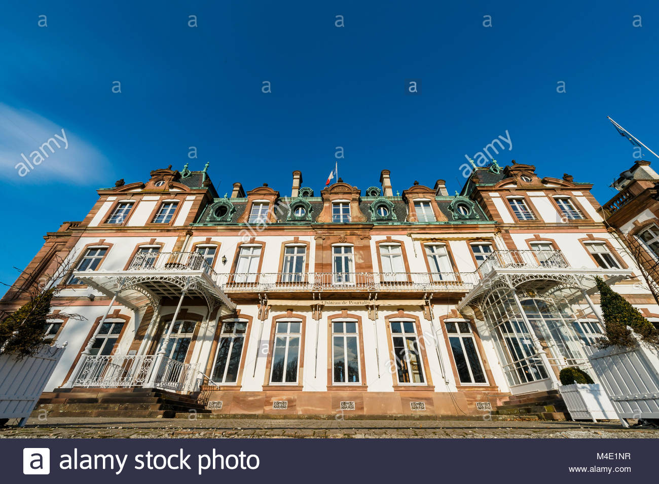 View from below of Chateau de Pourtales wide view - Stock Image
