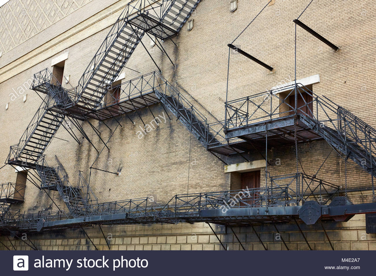 A Maze of Fire Scape stairs on an oldChicago  building, Chicago, Illinois - Stock Image