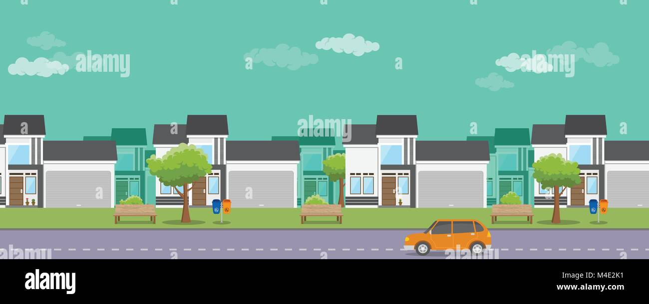 housing real estate with flat style and car on the street Stock Vector