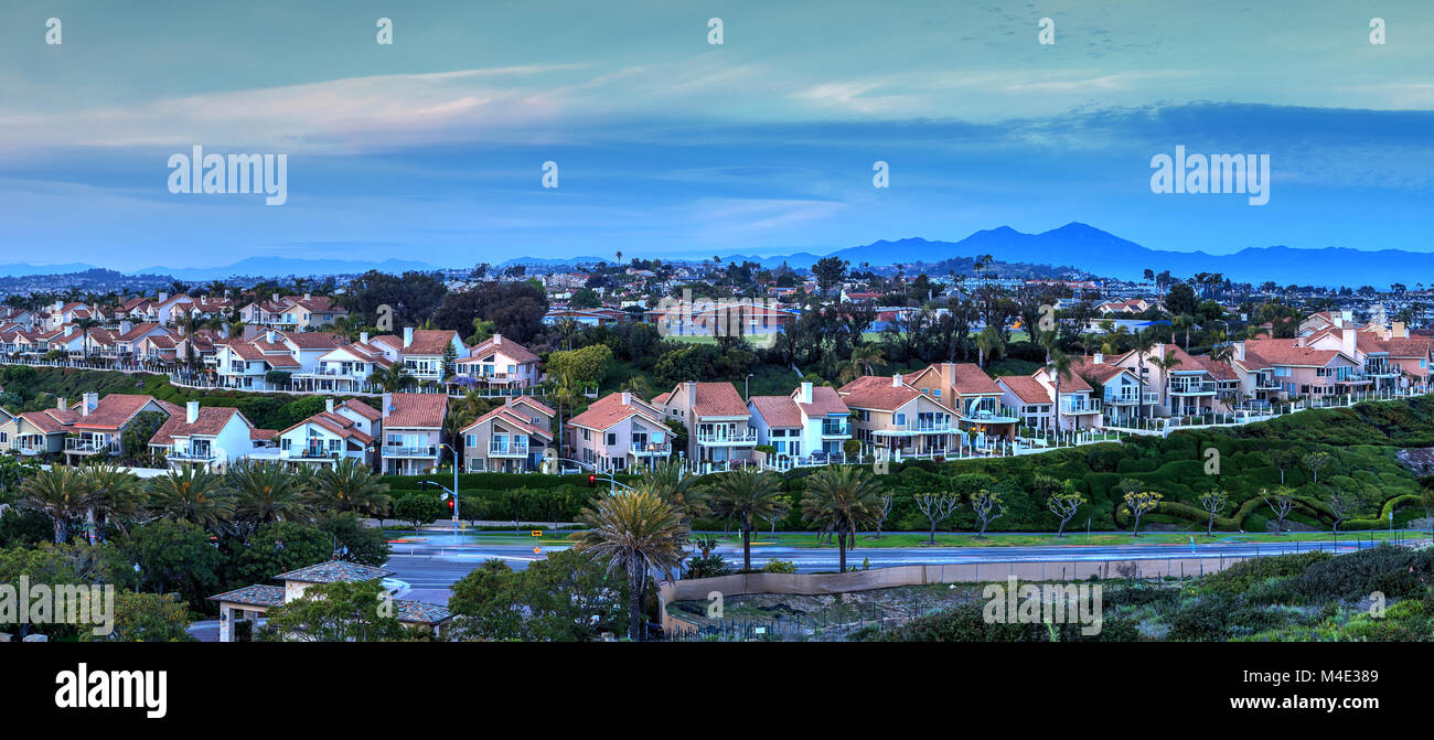 Panoramic view of tract homes along the Dana Point coast - Stock Image