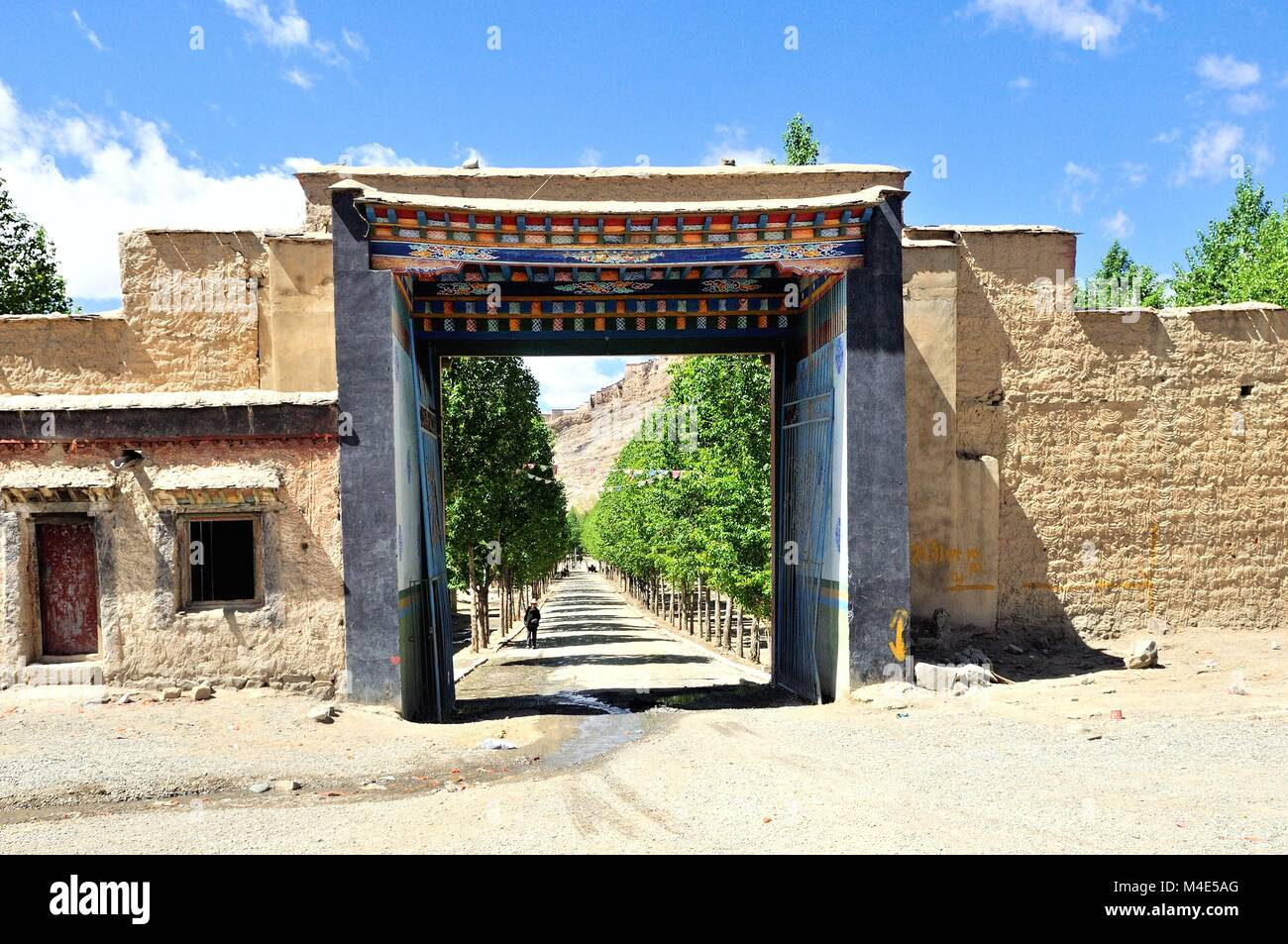 City gate in the city of Gyantse in Tibet China - Stock Image