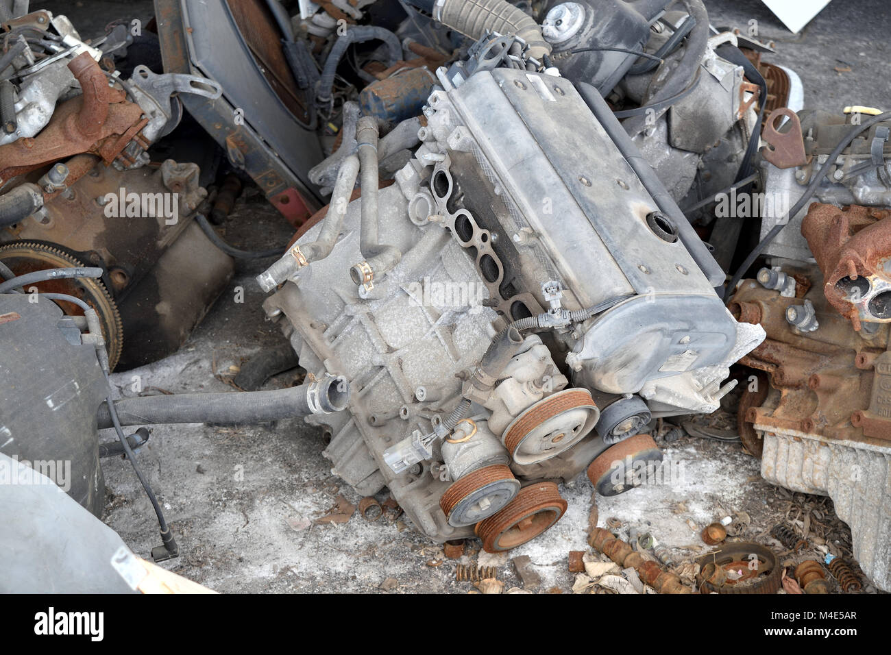 Old rusted engine ready for dismantling process - Stock Image