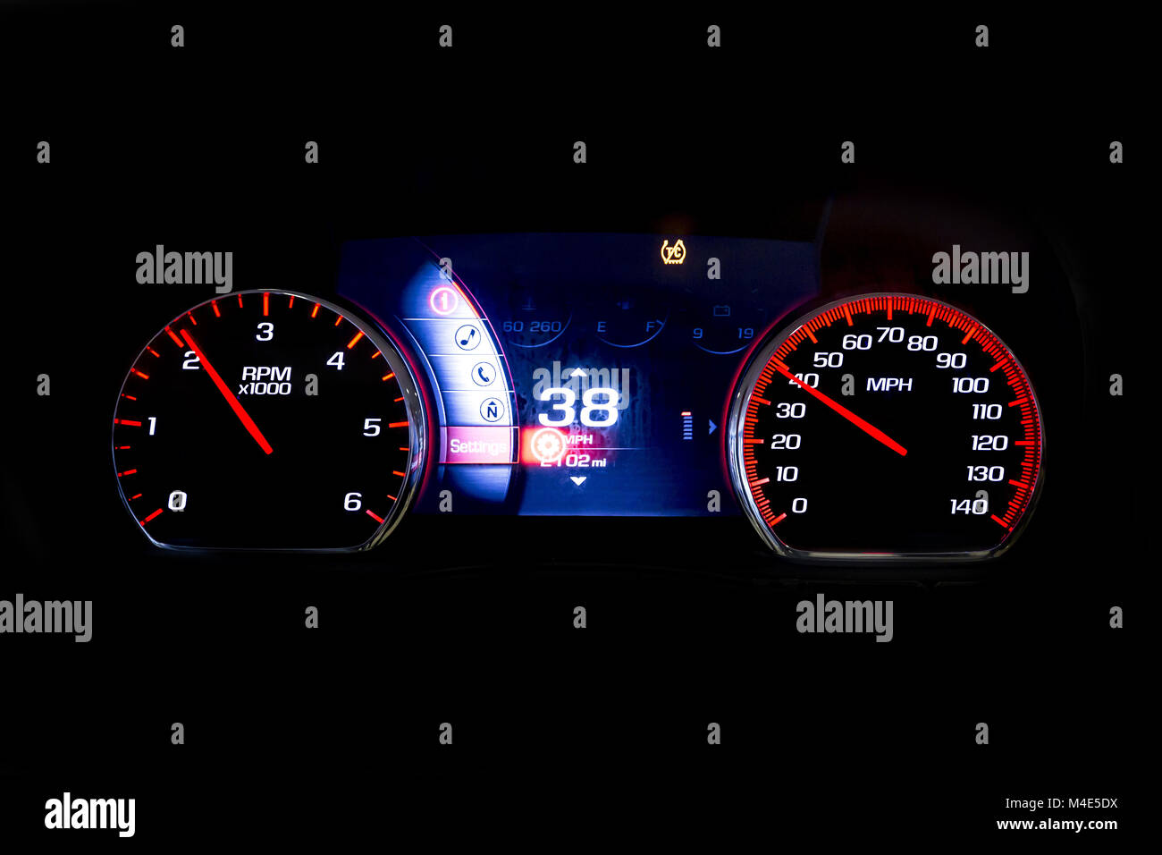 Modern light car mileage on black RPM and 38 MPH - Stock Image