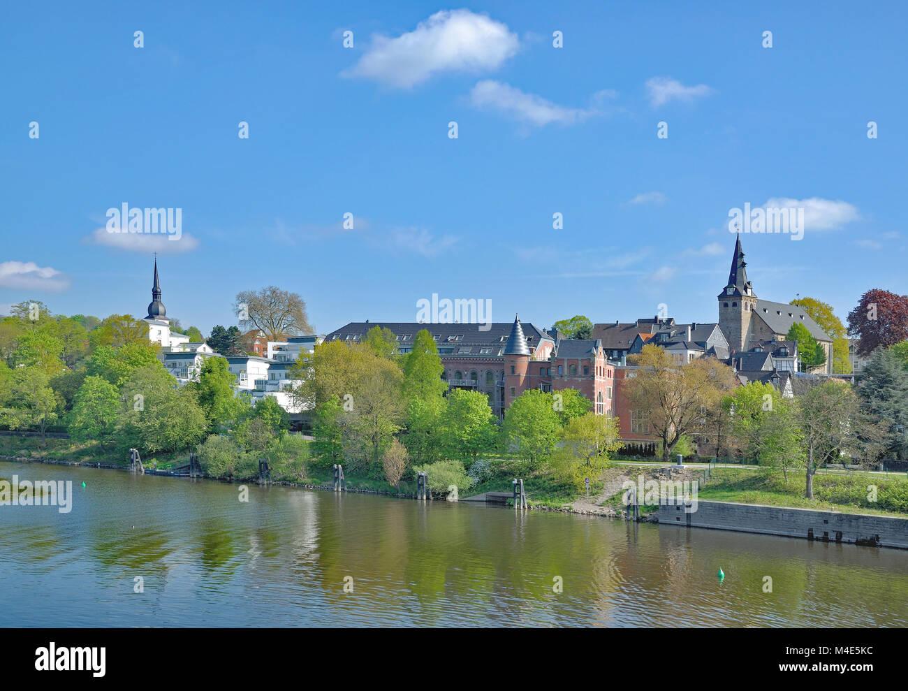 Kettwig at River Ruhr,Ruhr region,North Rhine Westphalia,Germany - Stock Image