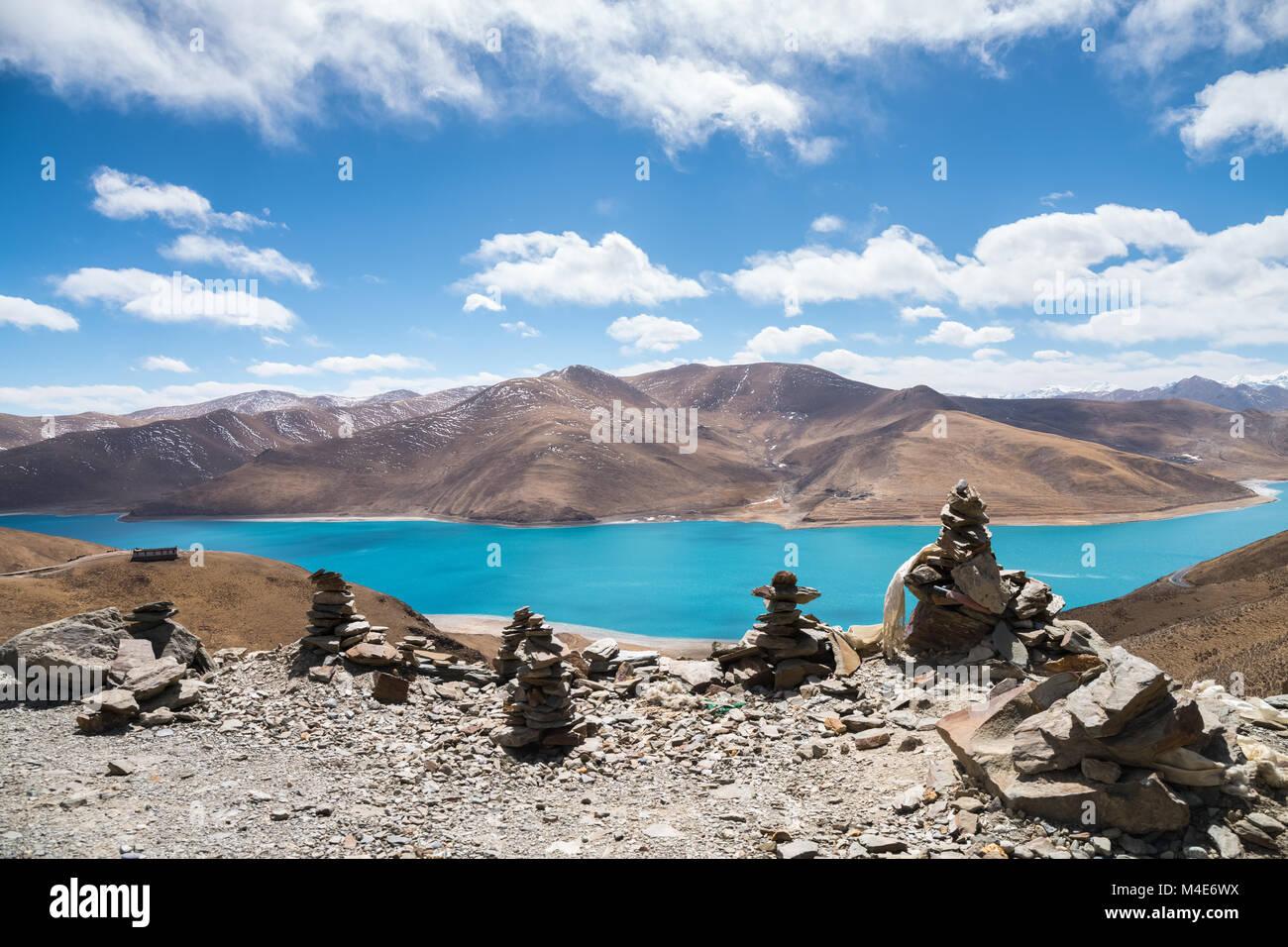 tibet holy yamdrok lake - Stock Image
