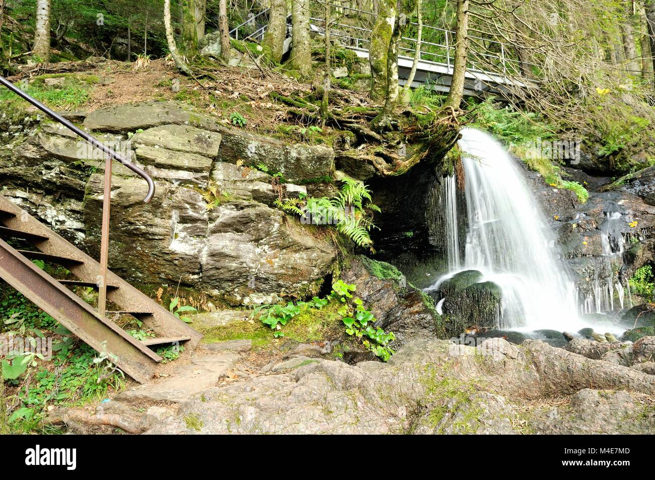 Zweribachach waterfall in between Simonswald Black Forest Germany Stock Photo
