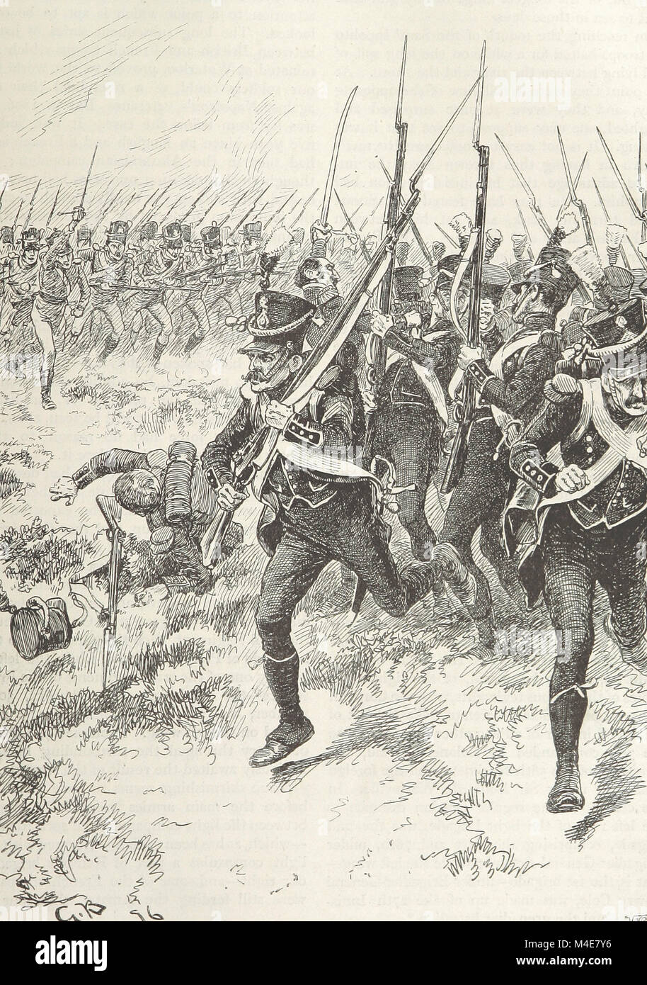 An illustration of the French 1st Light Infantry Regiment breaking at the Battle of Maida. July 4, 1806. They broke - Stock Image