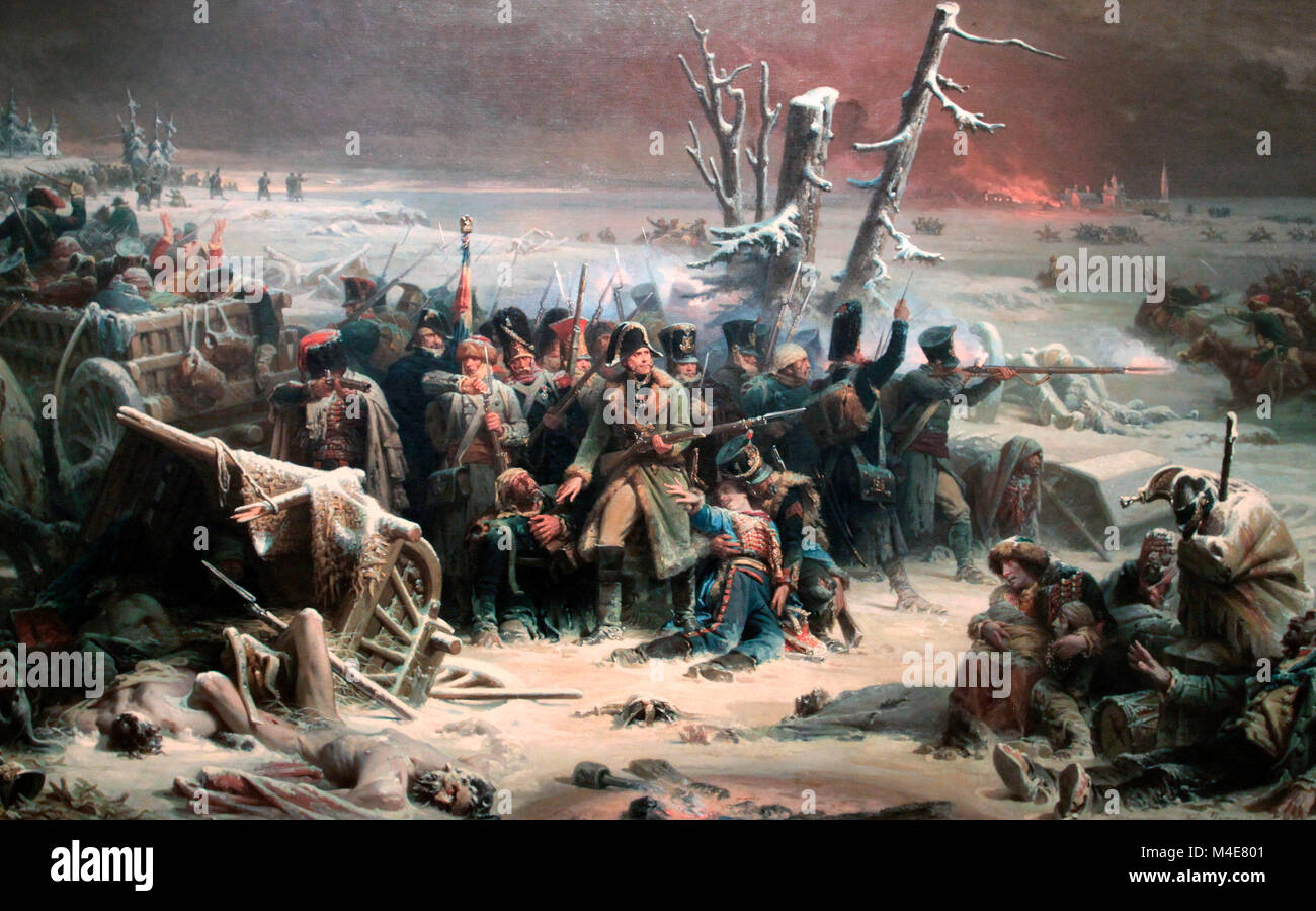 Marshall Ney supporting the Rear Guard During the Retreat from Moscow, Adolphe Yvon - Stock Image