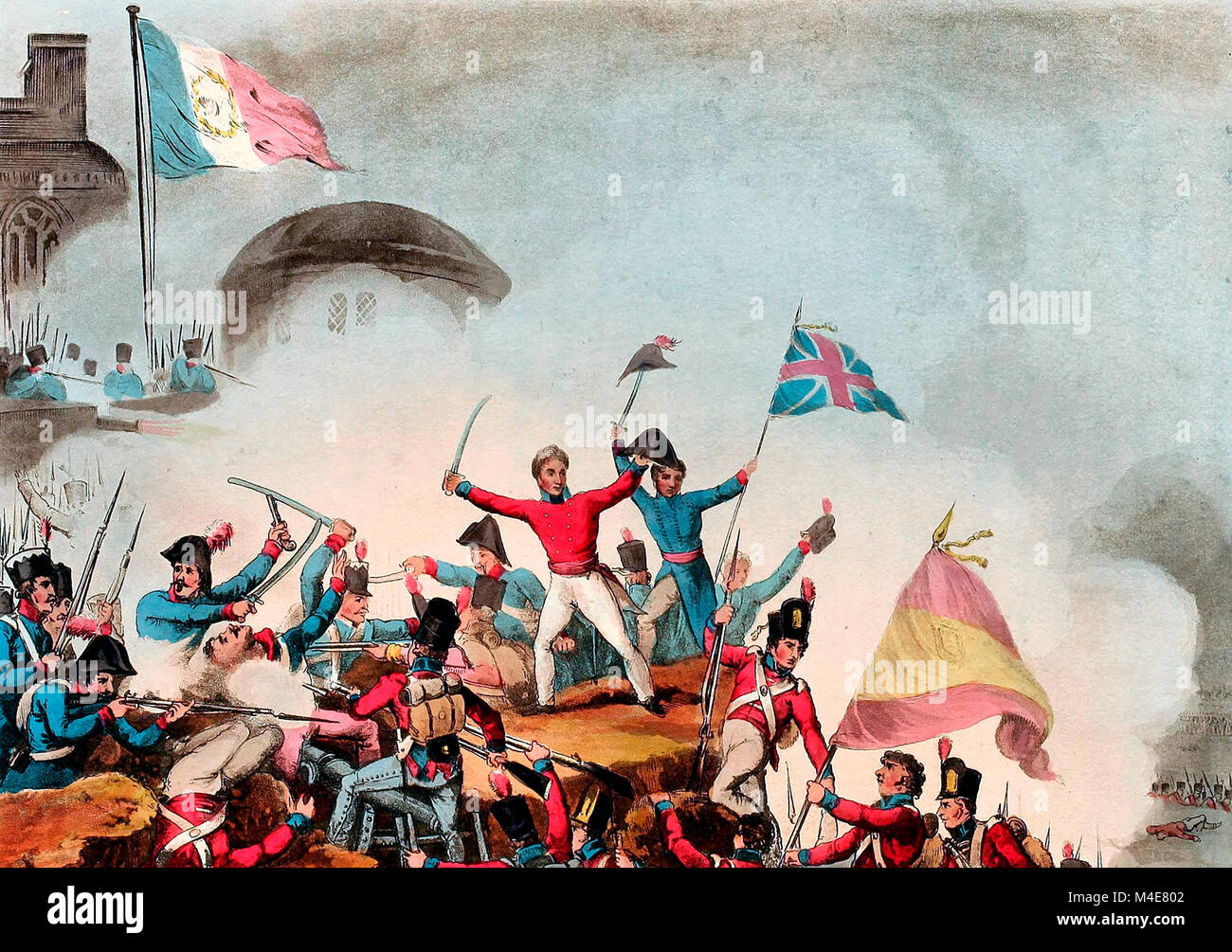 Sir Thomas Picton storming the Moorish Castle of Badajos - March 31, 1812 - Stock Image