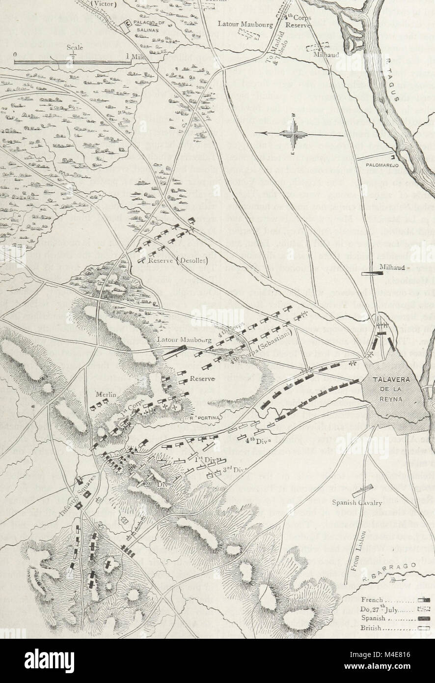 A map of the final French attack of the Battle of Talavera, July 1809 Stock Photo