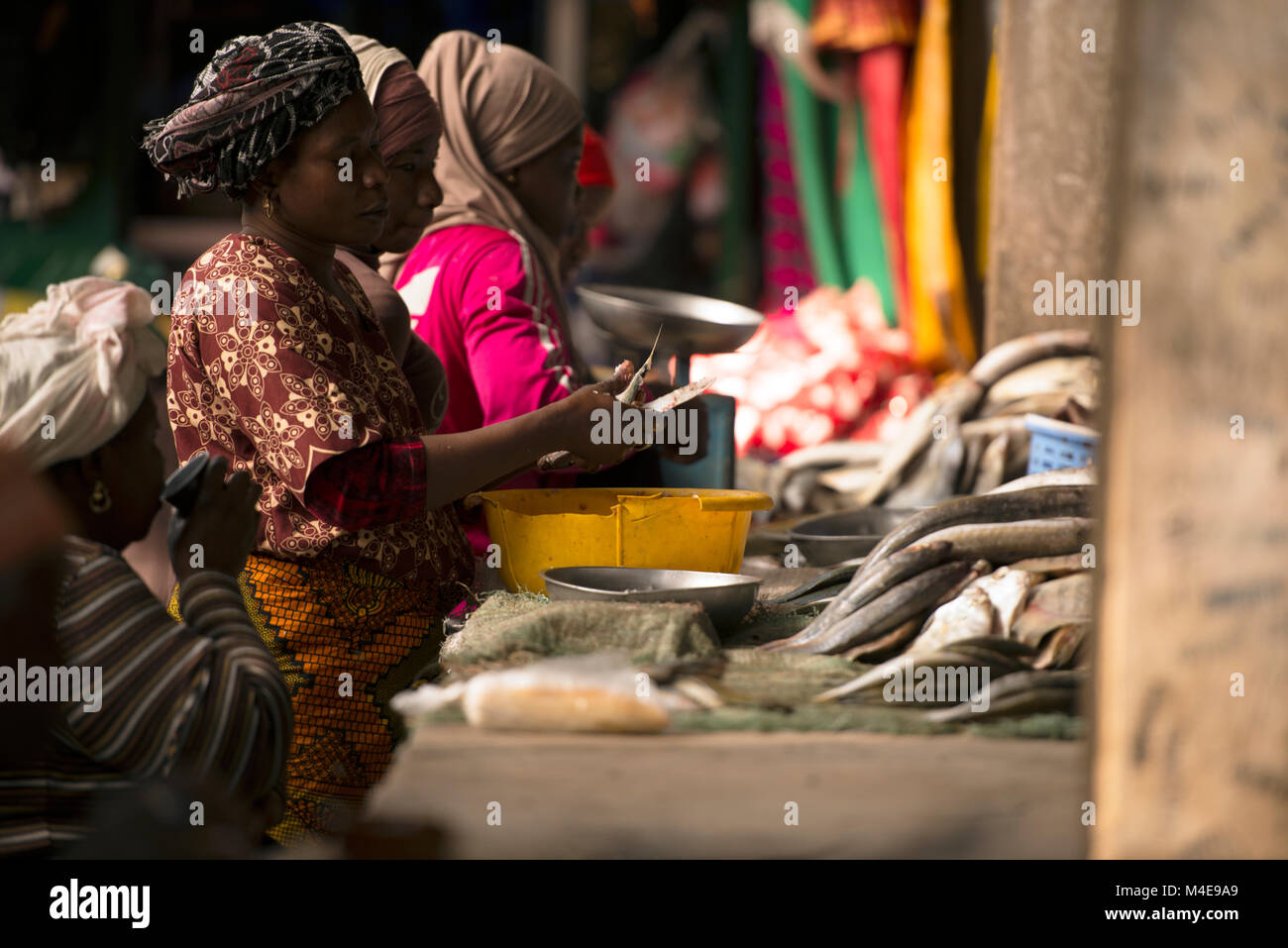 An indigenous Jola woman skins fish at a local market in Senegal, West Africa. - Stock Image