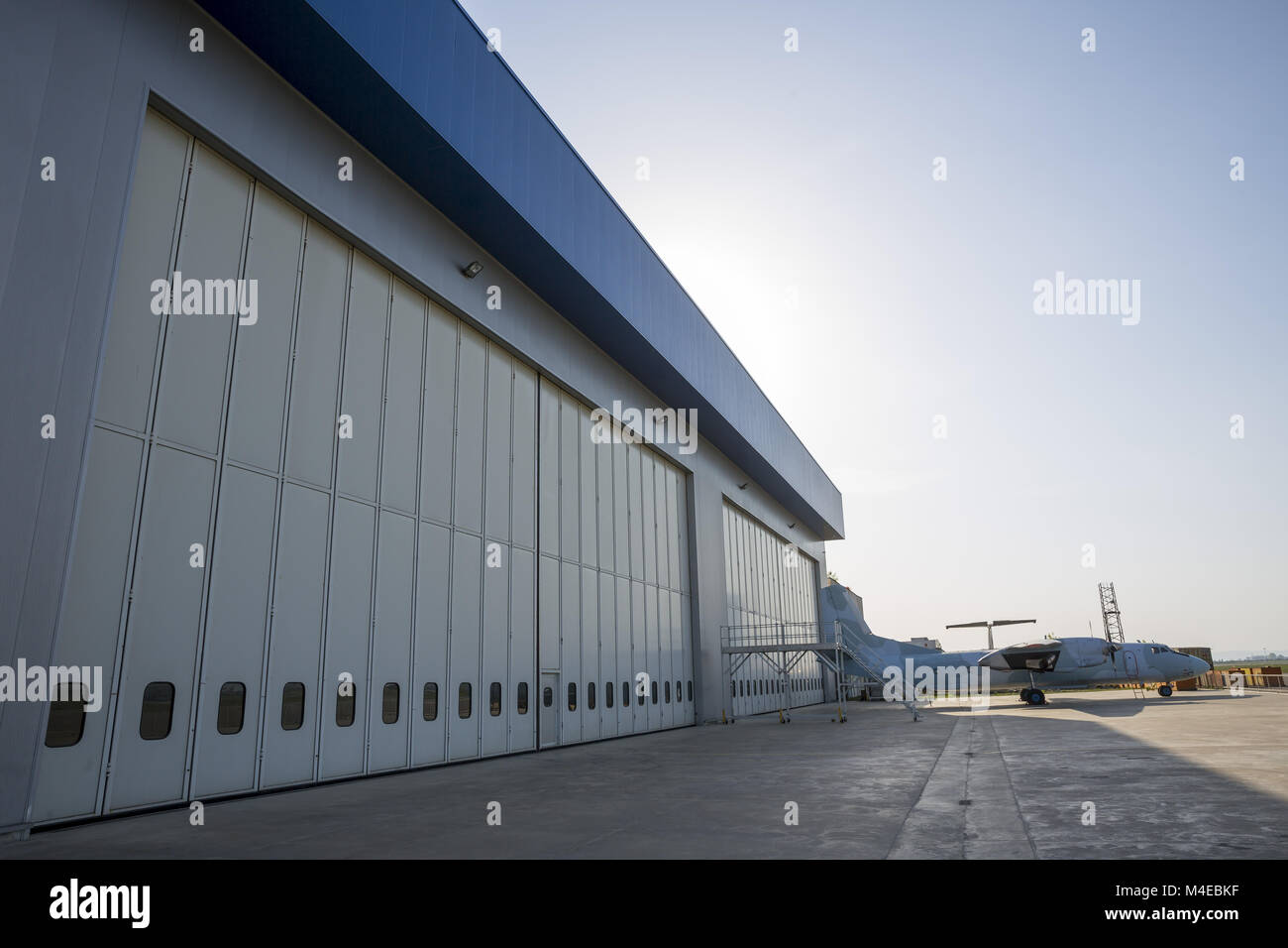 Airport hangar from the outside - Stock Image