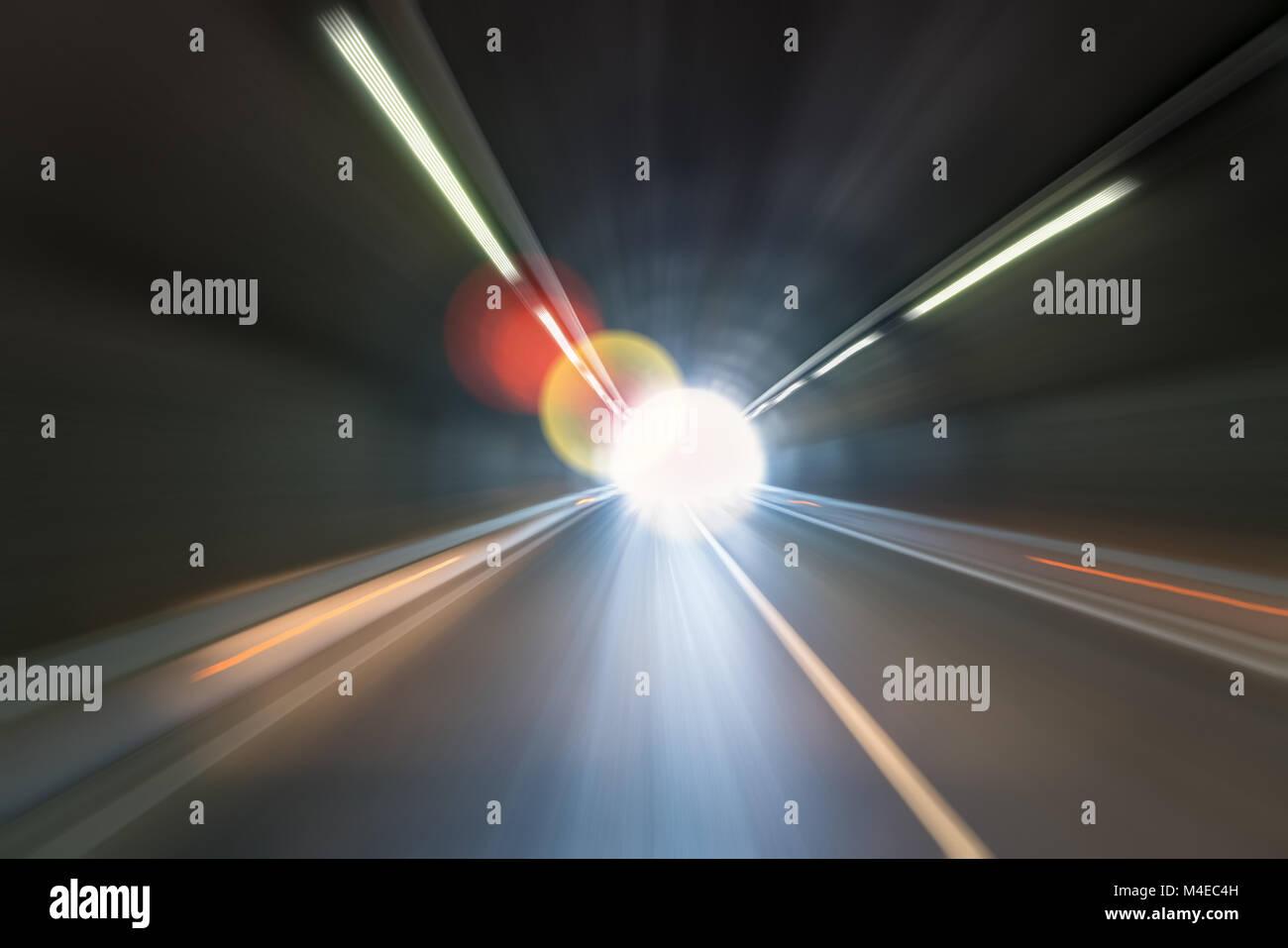 dreamlike tunnel motion blur - Stock Image