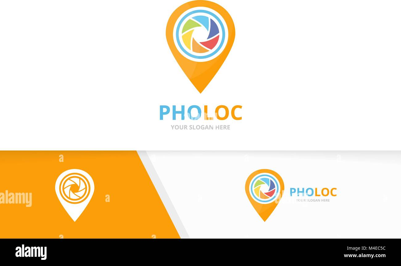 Vector camera shutter and map pointer logo combination. Lens and gps locator symbol or icon. Unique photo and pin - Stock Vector