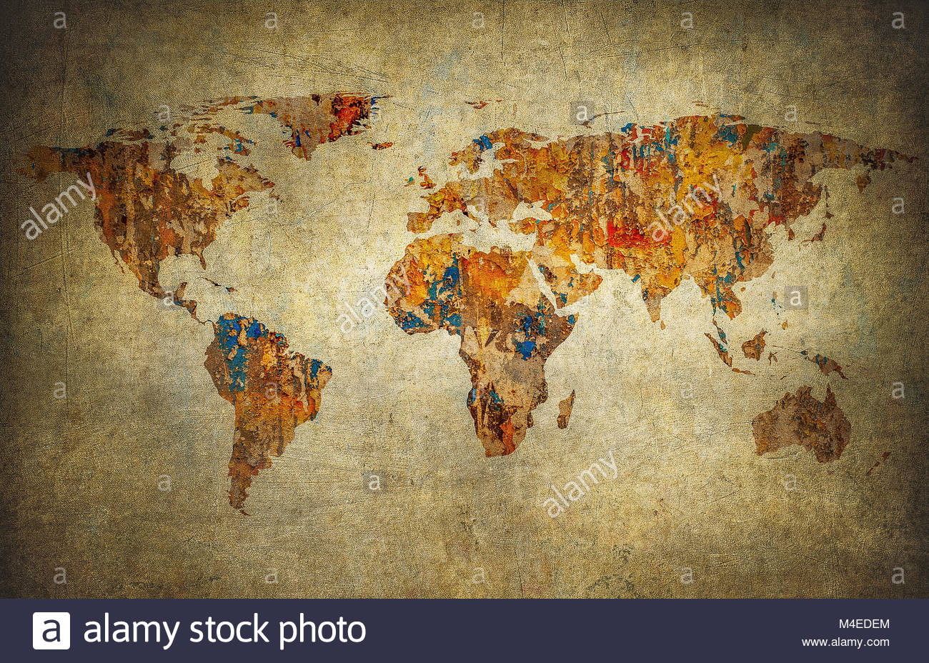 grunge map of the world - Stock Image