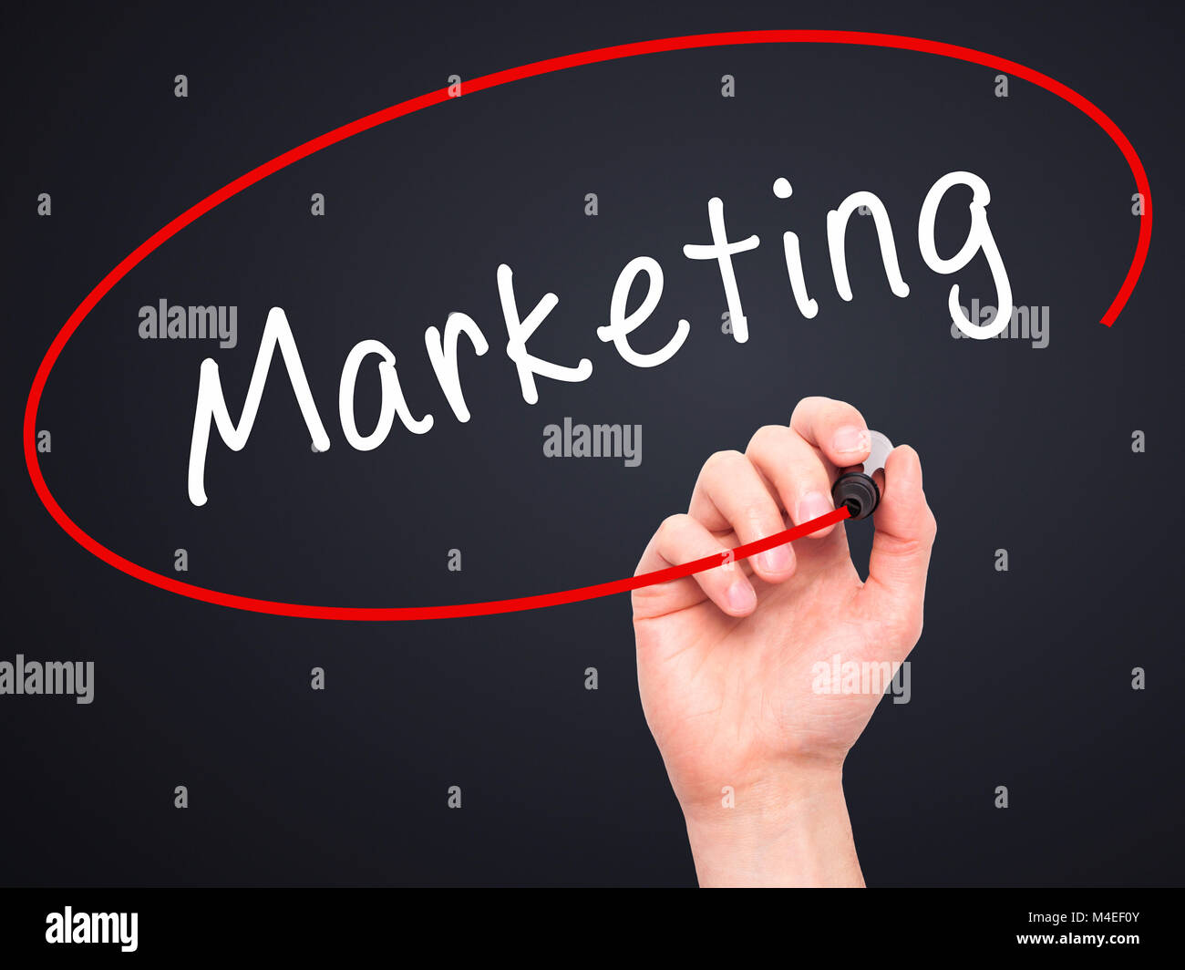 Man Hand writing Marketing with black marker on visual screen Stock Photo