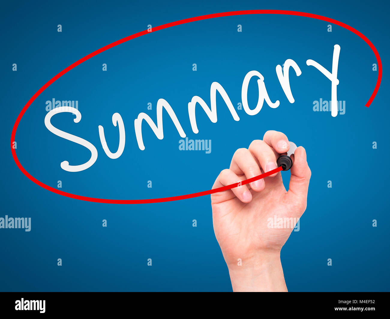 Man Hand writing Summary with marker on transparent wipe board - Stock Image