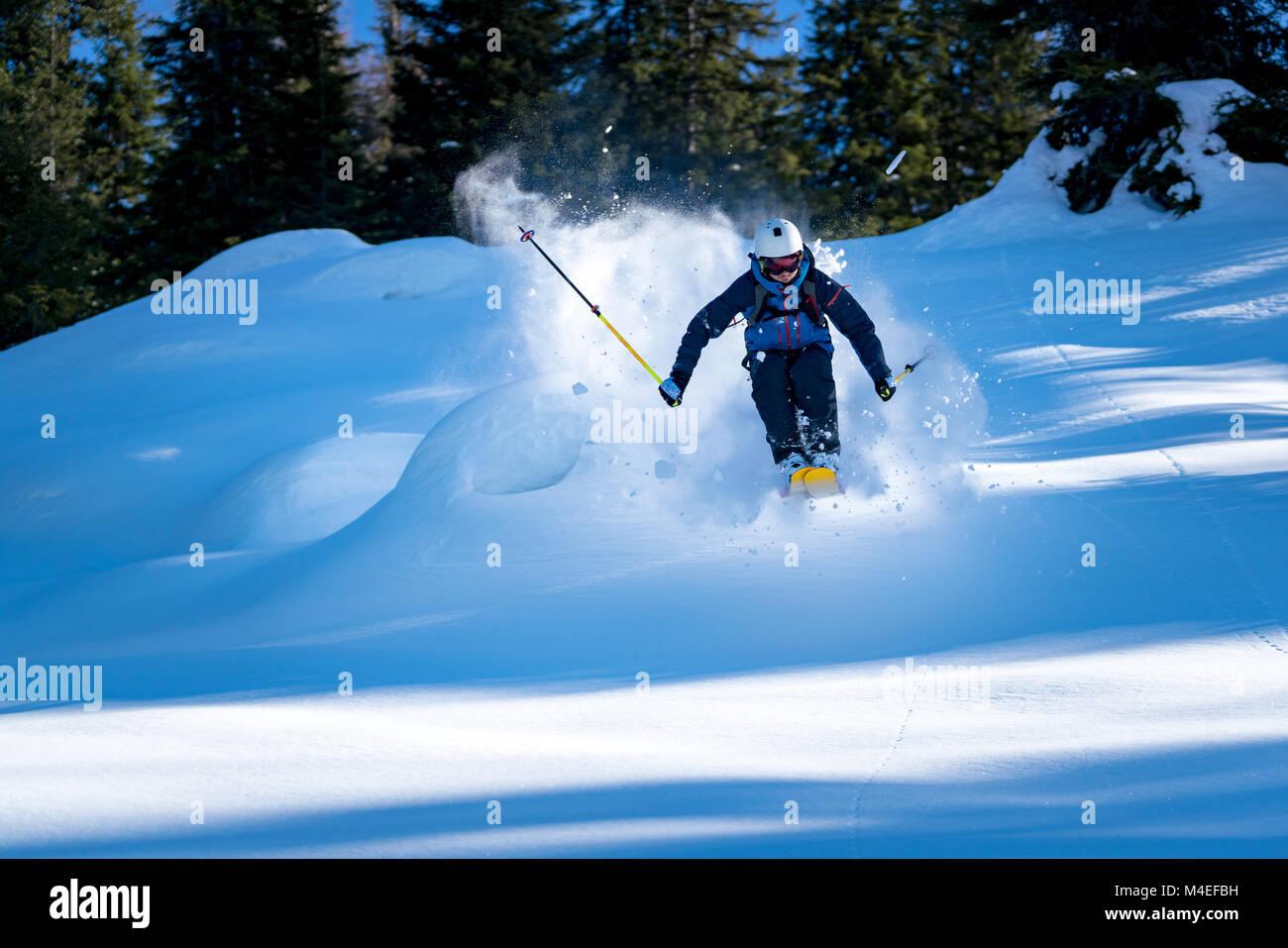 Male freeride skier skiing,Zauchensee,Salzburg,Austria Stock Photo