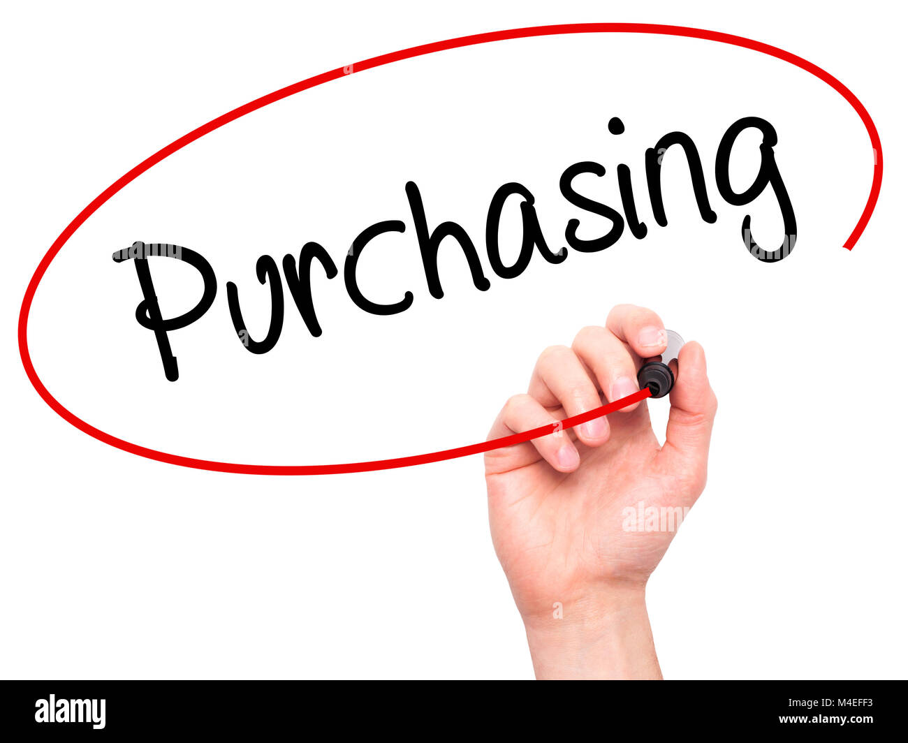 Man Hand writing Purchasing with black marker on visual screen. - Stock Image