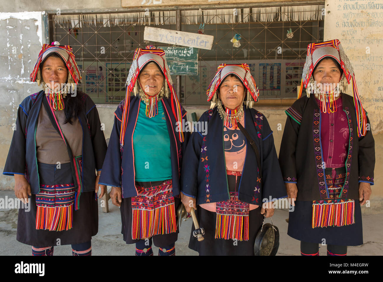 Chiang Rai, Thailand - February 8, 2017: Portrait of an unidentified Akha women with traditional clothes and silver - Stock Image