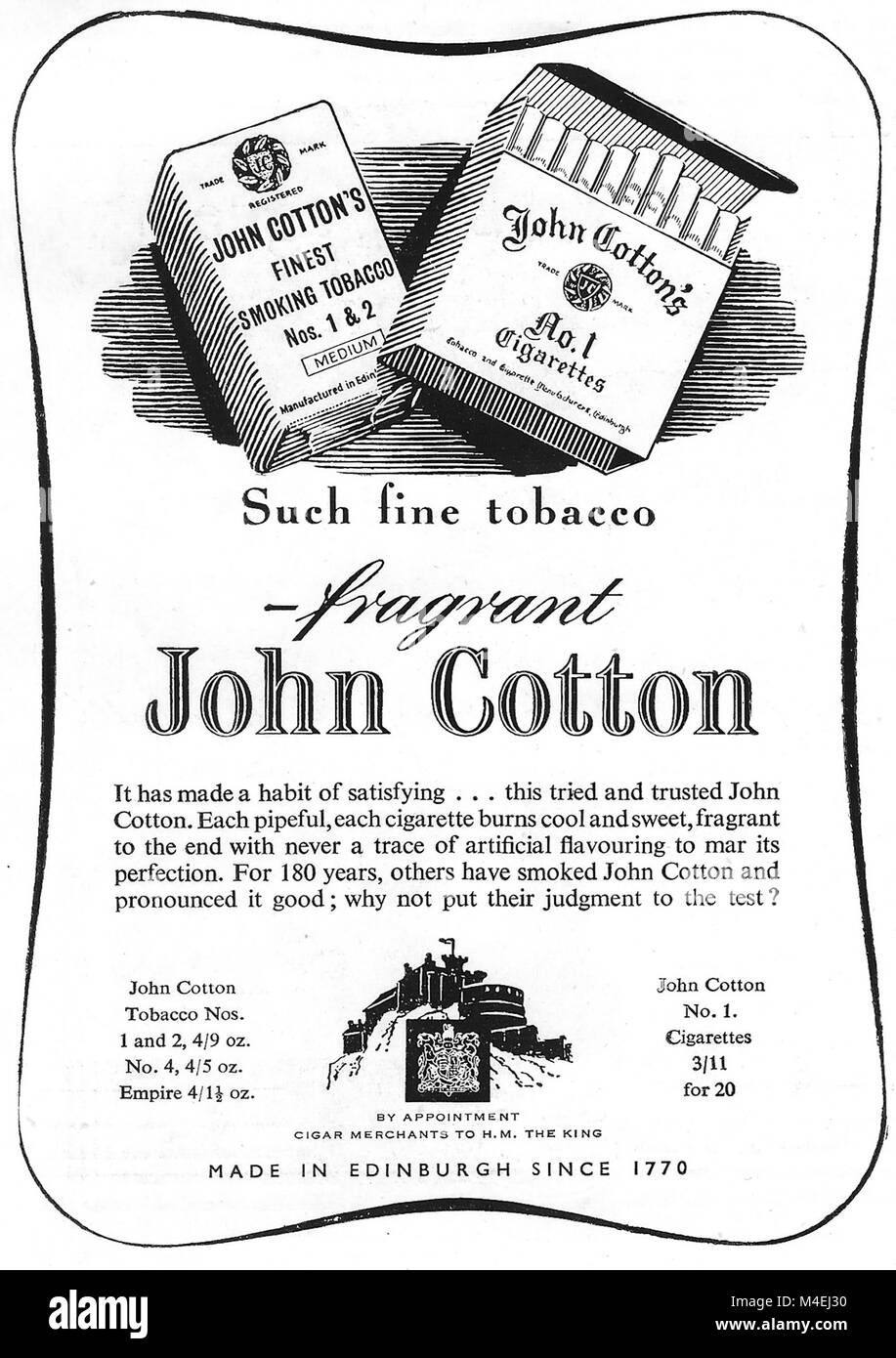 John Cotton fragrant cigarettes tobacco advert, advertising in Country Life magazine UK 1951 - Stock Image