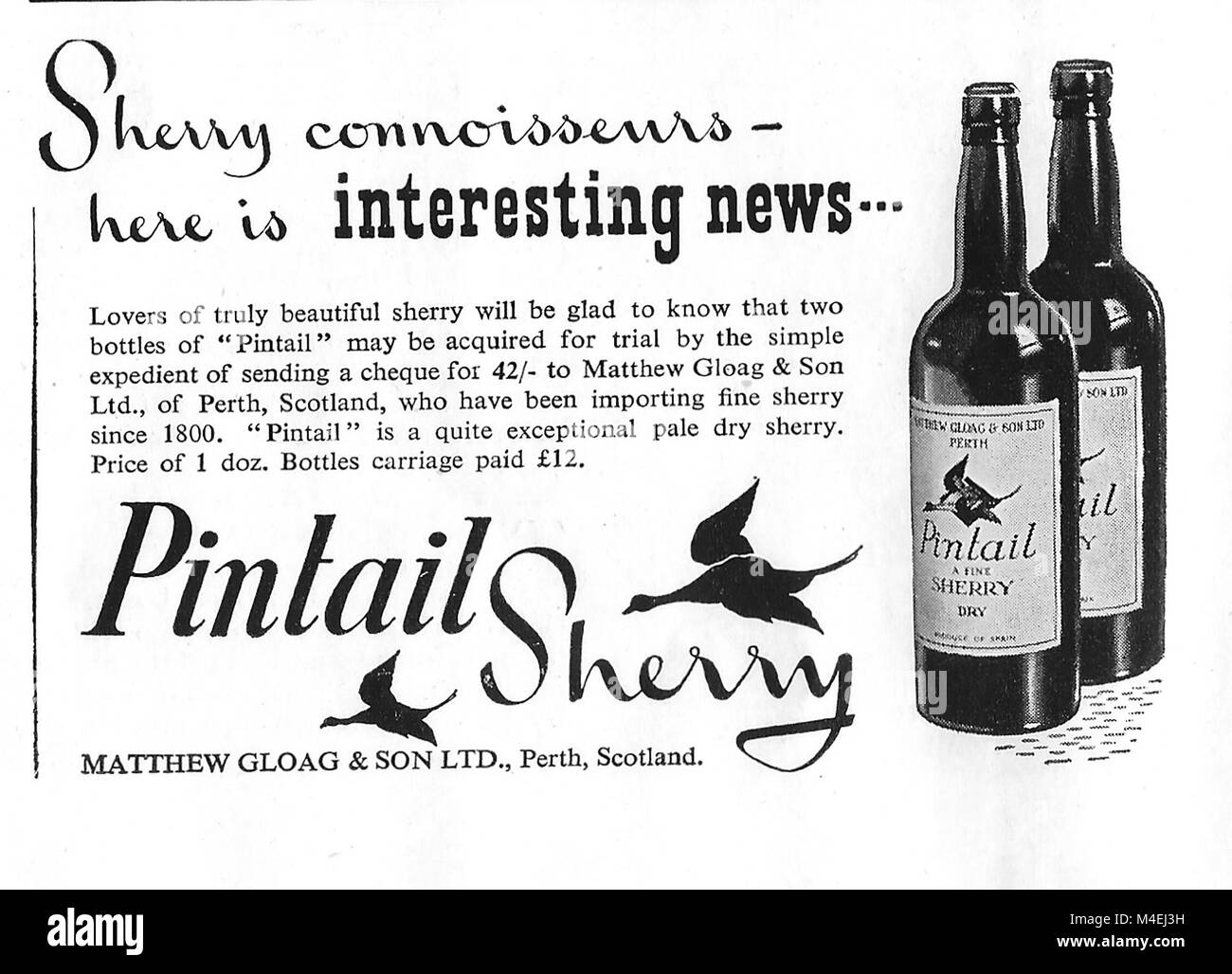 Pintail sherry advert, advertising in Country Life magazine UK 1951 - Stock Image