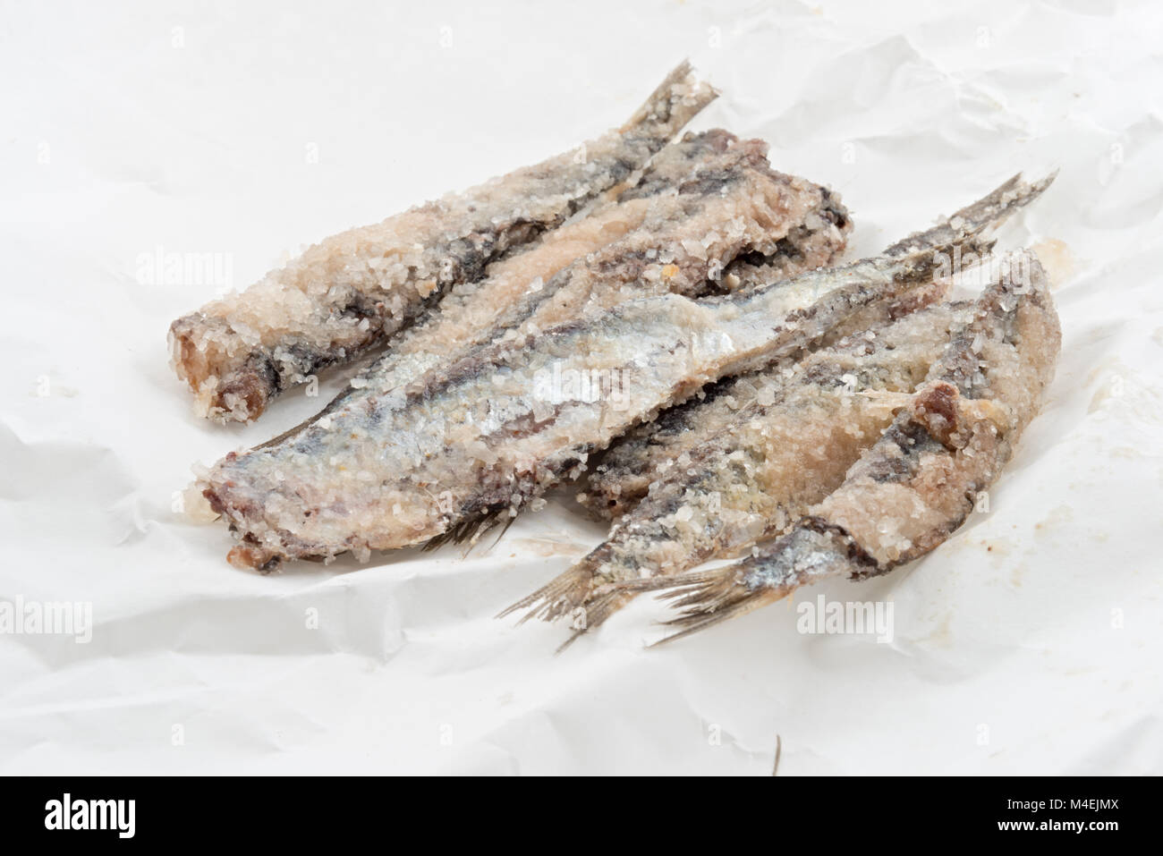 sardines salted anchovies on paper 4 - Stock Image