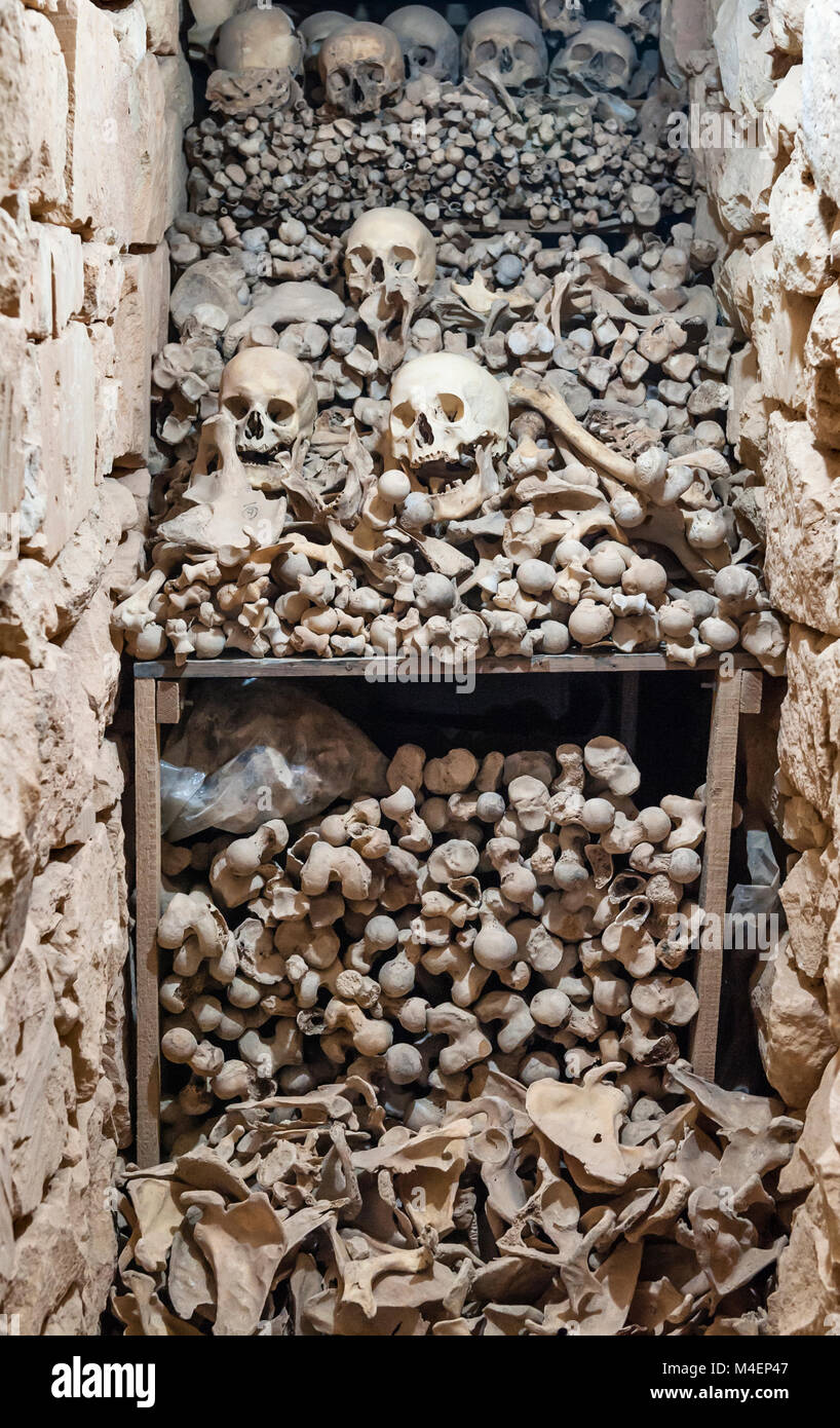 Zejtun, Malta. The catacomb or ossuary inside the walls of the fortified parish church of St Gregory - Stock Image
