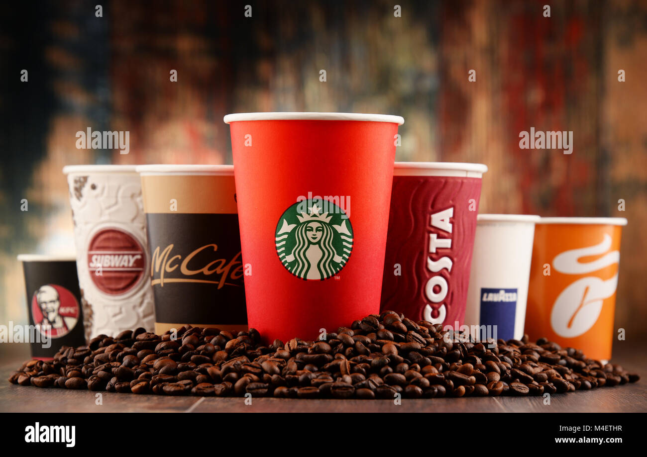 Cups of global coffeehouse brands Stock Photo