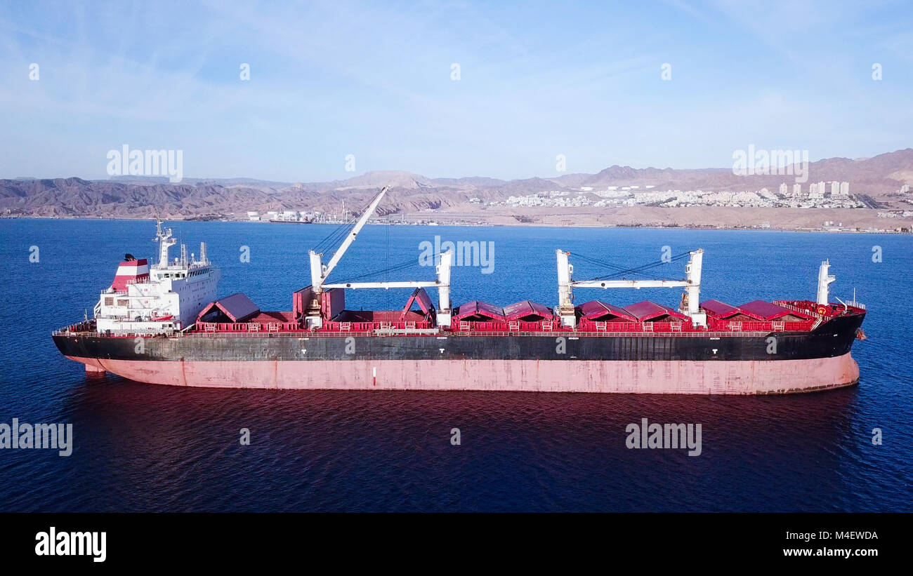 Large Bulk carrier at sea - Aerial image - Stock Image