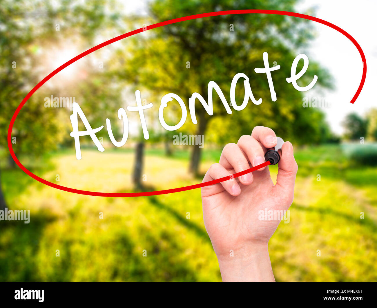 Man Hand writing Automate with black marker on visual screen - Stock Image