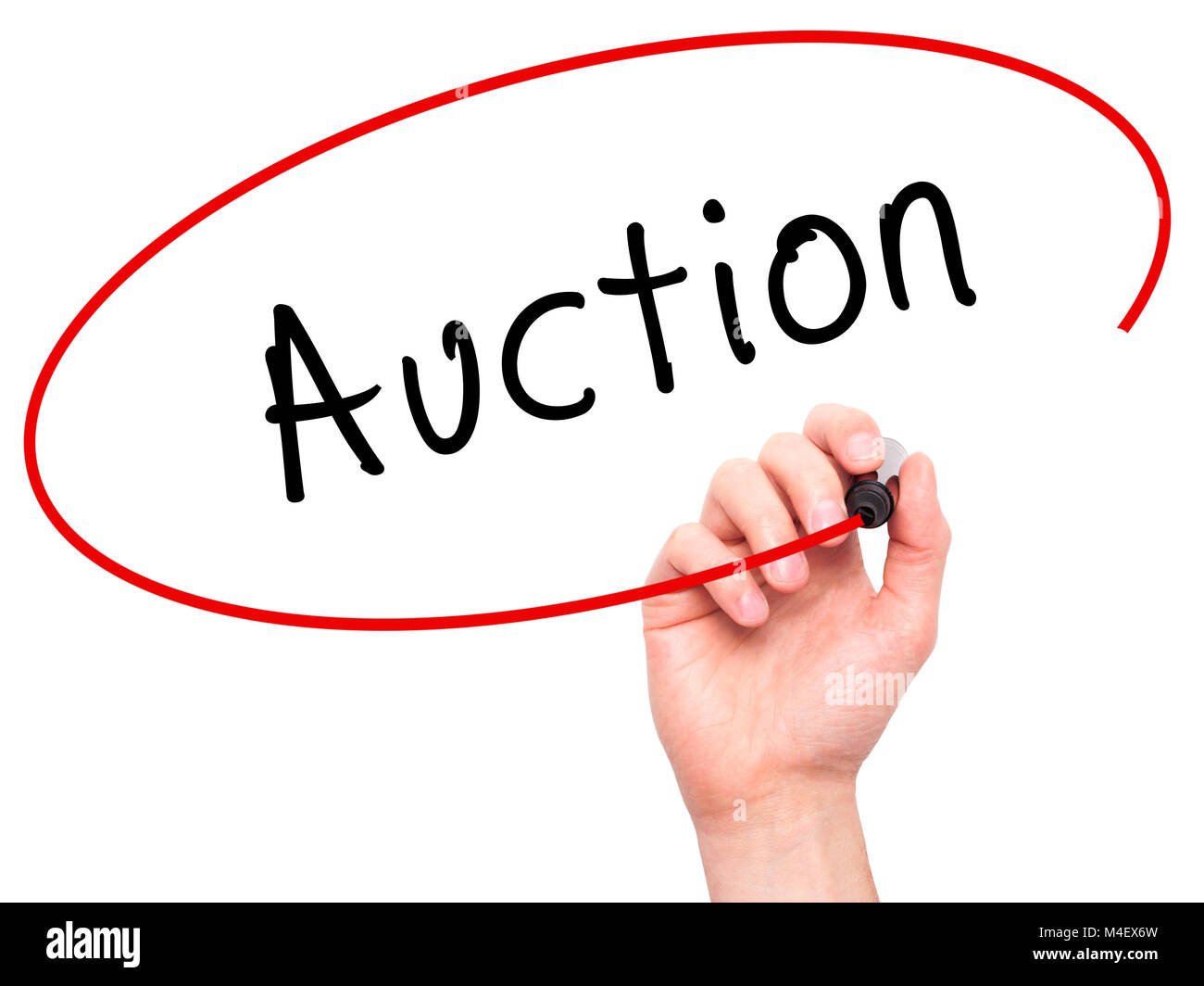 Man Hand writing Auction with black marker on visual screen - Stock Image