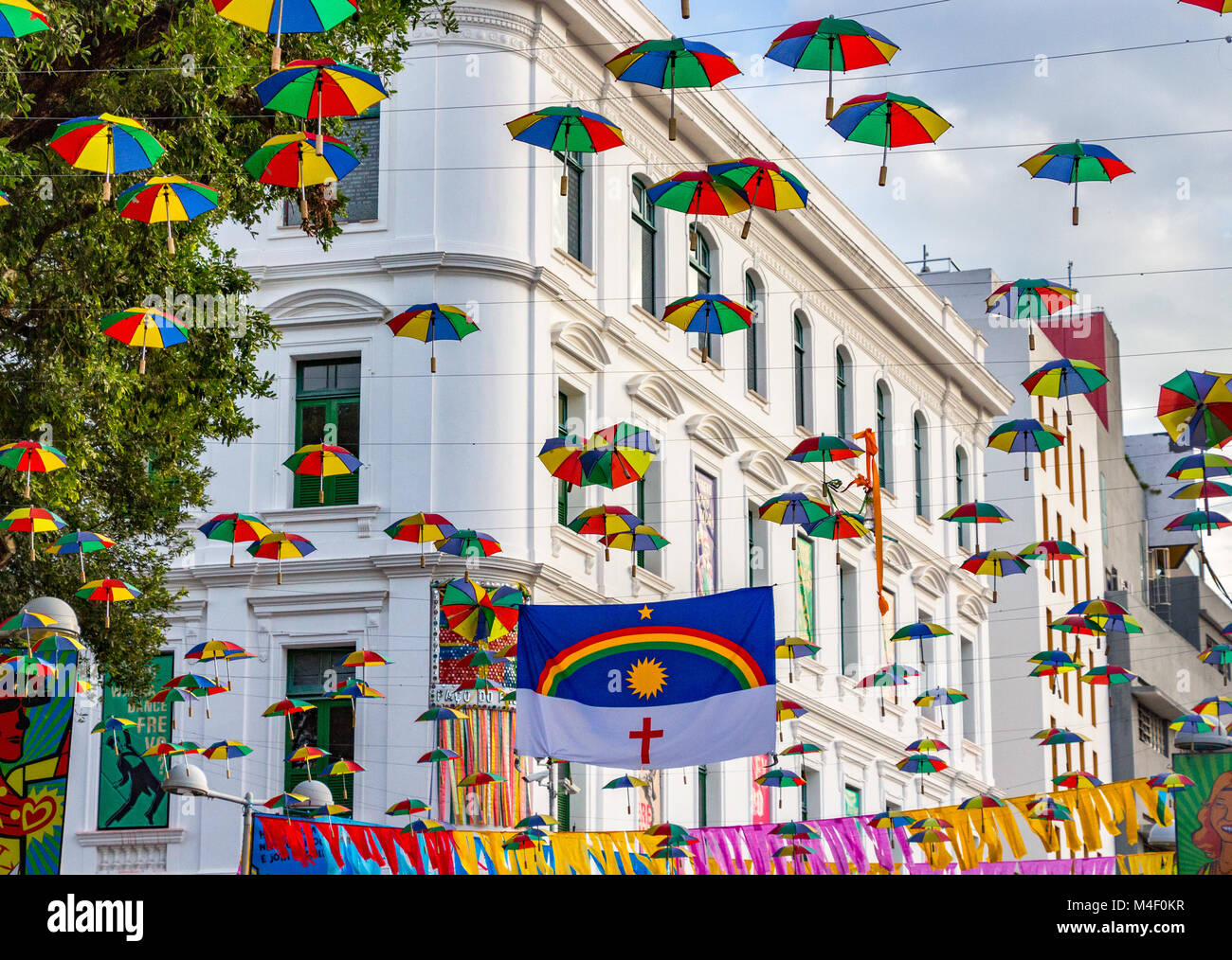 Recife, Brazil - February 9th, 2018: The historic center of the city of Recife is decorated with hundred of clown - Stock Image