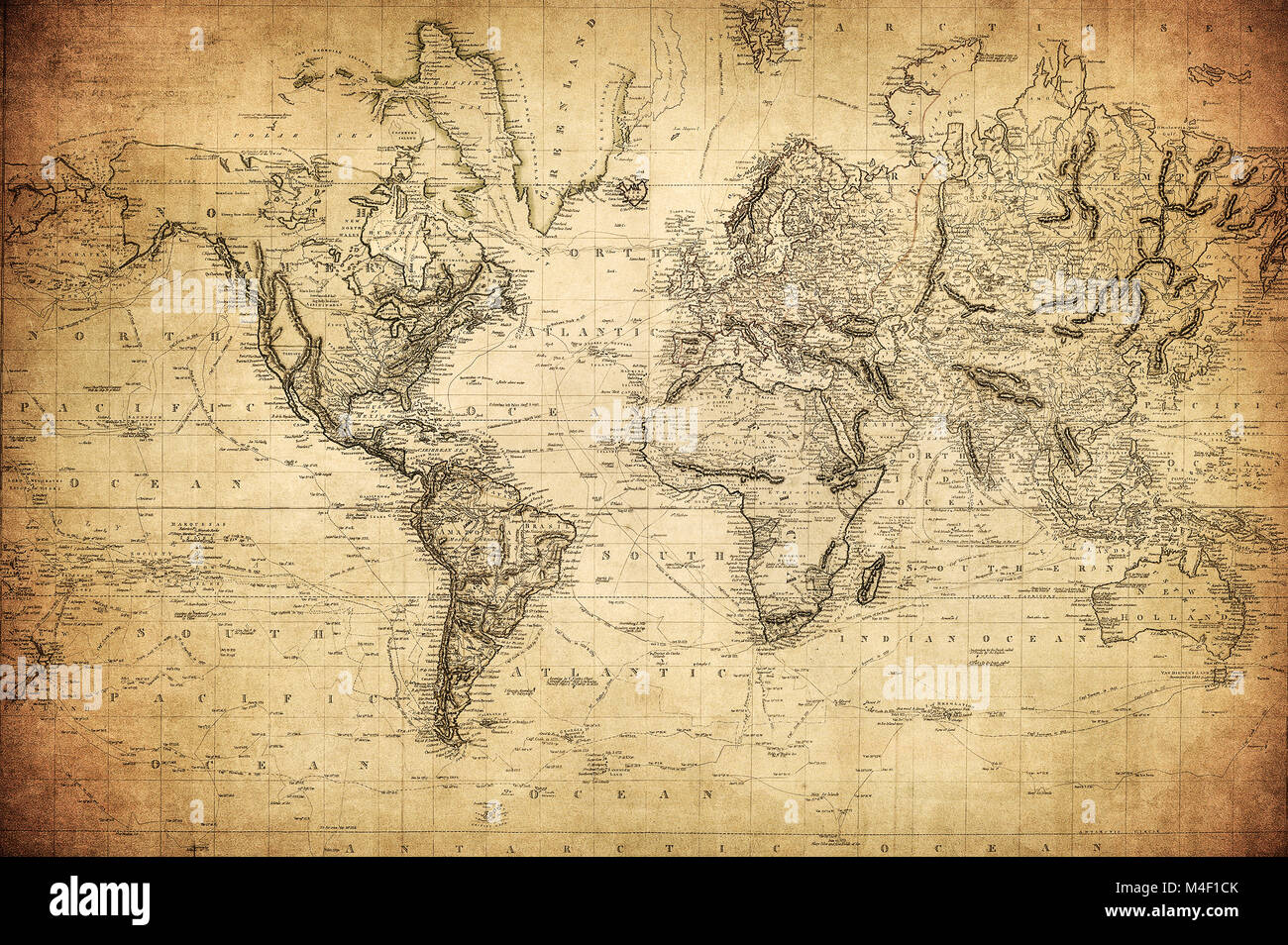 Vintage Map Of The World 1814 Stock Photo 174892723 Alamy