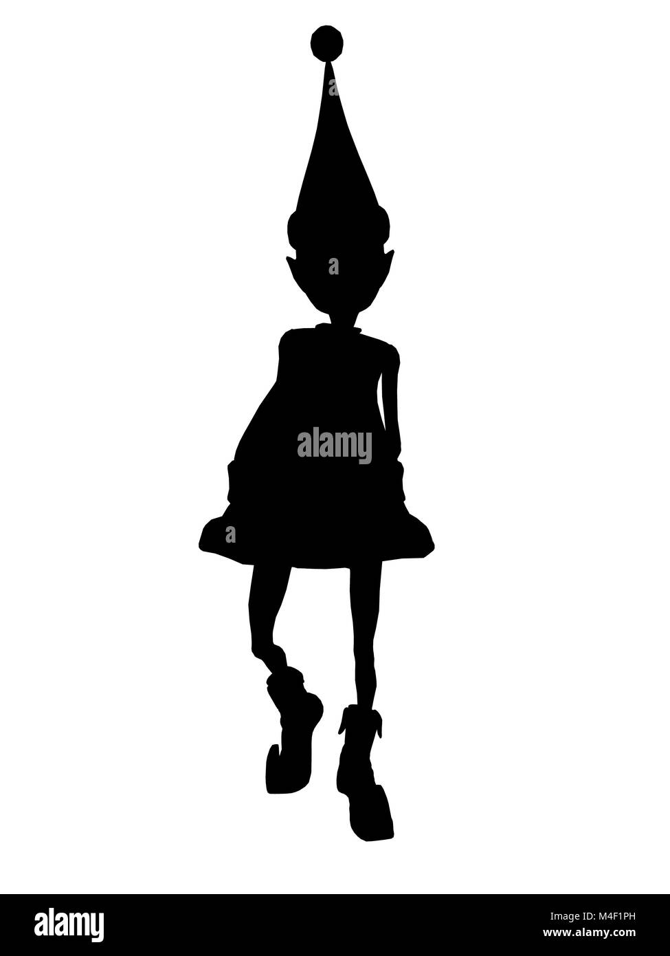 A  black christmas elf illustration silhouette on a white background - Stock Image