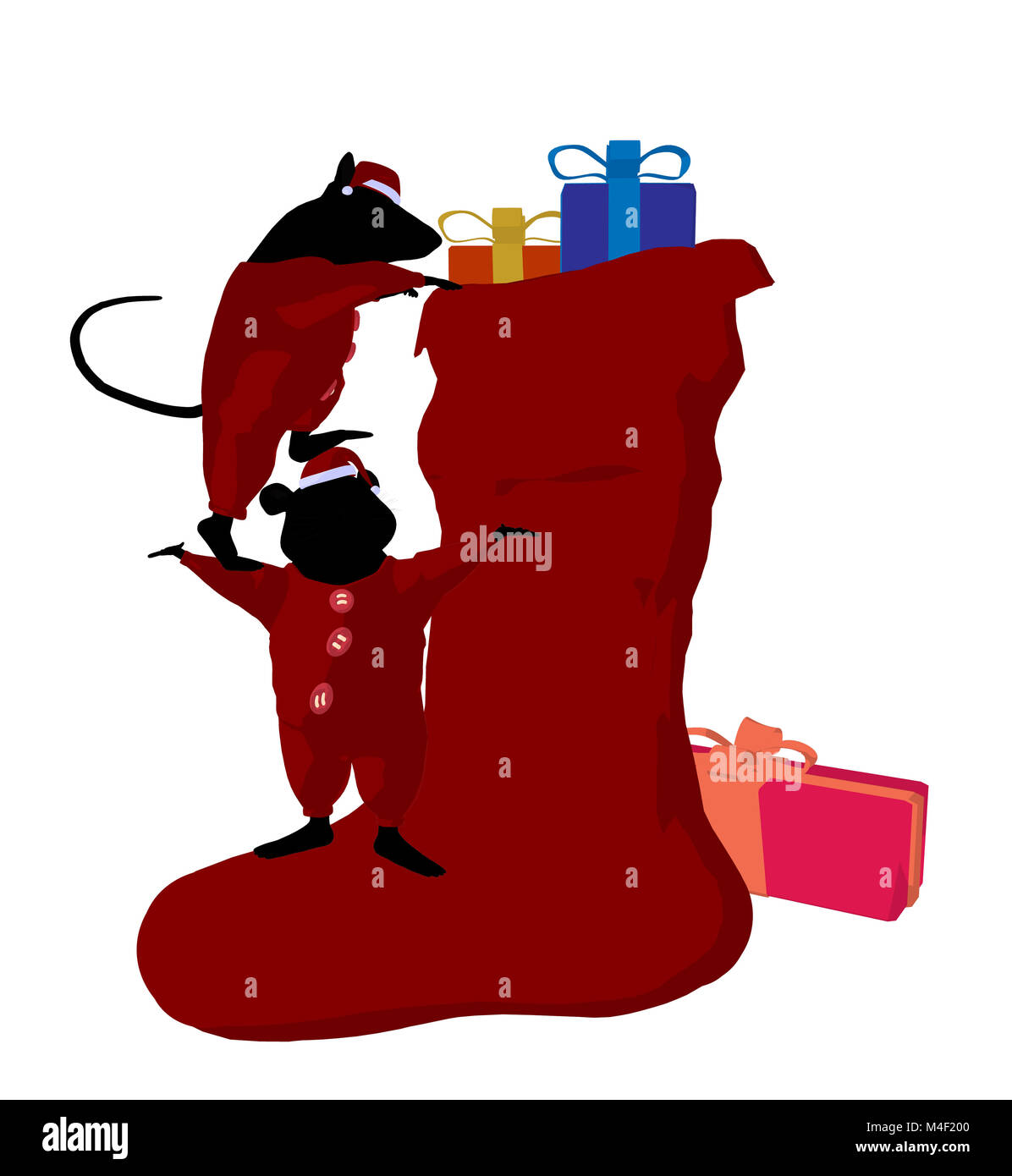 Little cute mouses with christmas presents silhouette on a white background Stock Photo