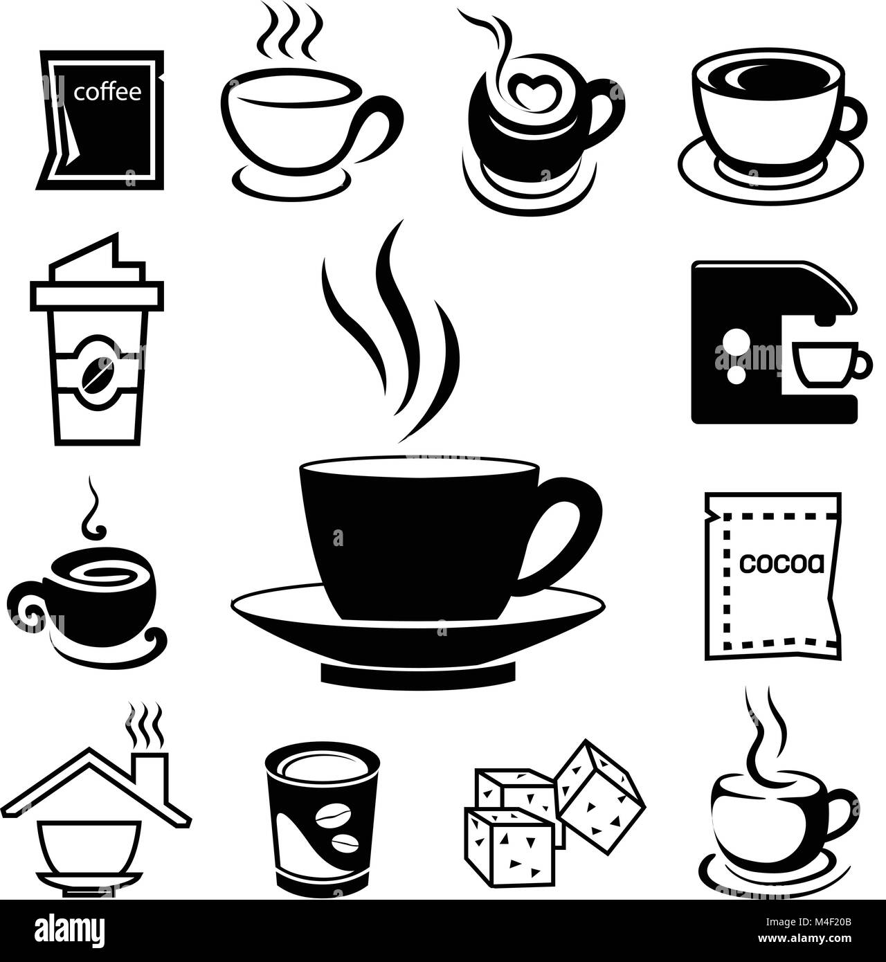 coffee icon set with accessory and ingredient of glass, cup, bean, sugar, bag, mug, grinder, package, spoon, cake, Stock Vector