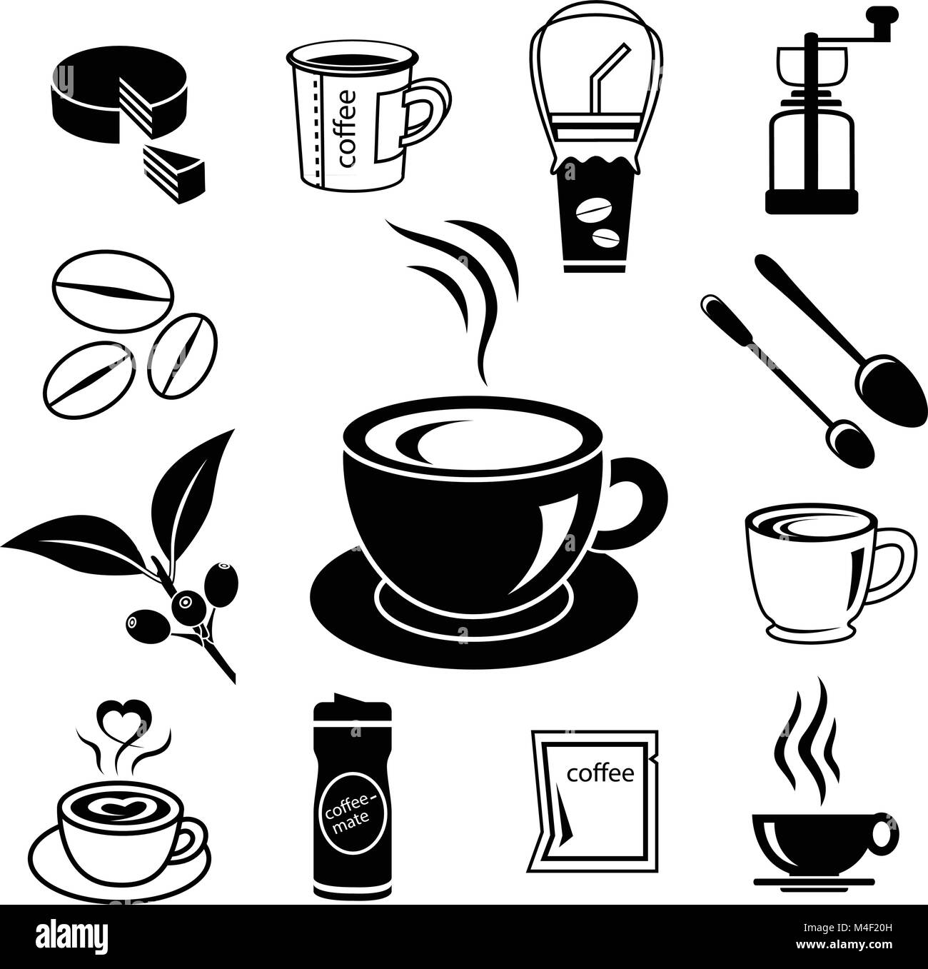 coffee icon set with accessory and ingredient of cup, glass, bean, sugar, bag, mug, grinder, package, spoon, cake, - Stock Image