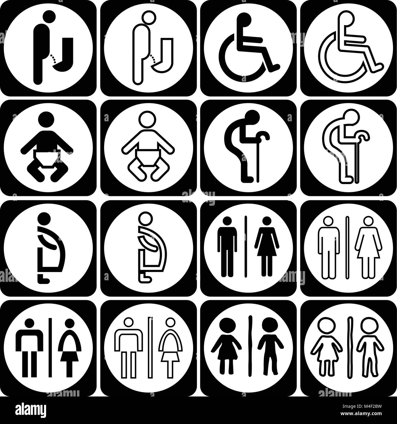 Modern Style Of Toilet Sign With Baby Men Women Pregnant Aged Handicapped In Art Design Vector Set