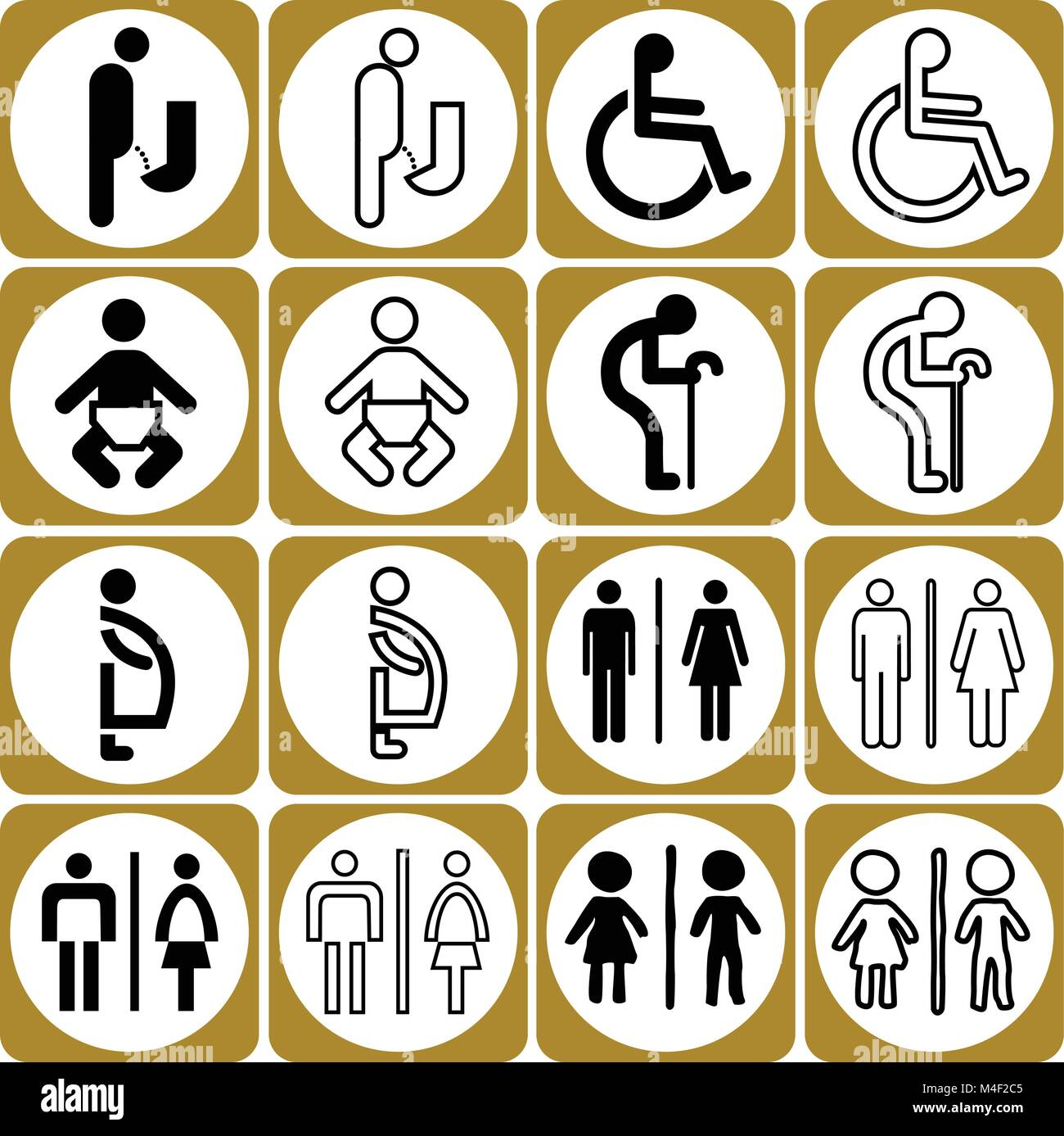 Modern Style Of Golden Toilet Sign With Baby Men Women Pregnant Aged Handicapped In Art Design Vector Set