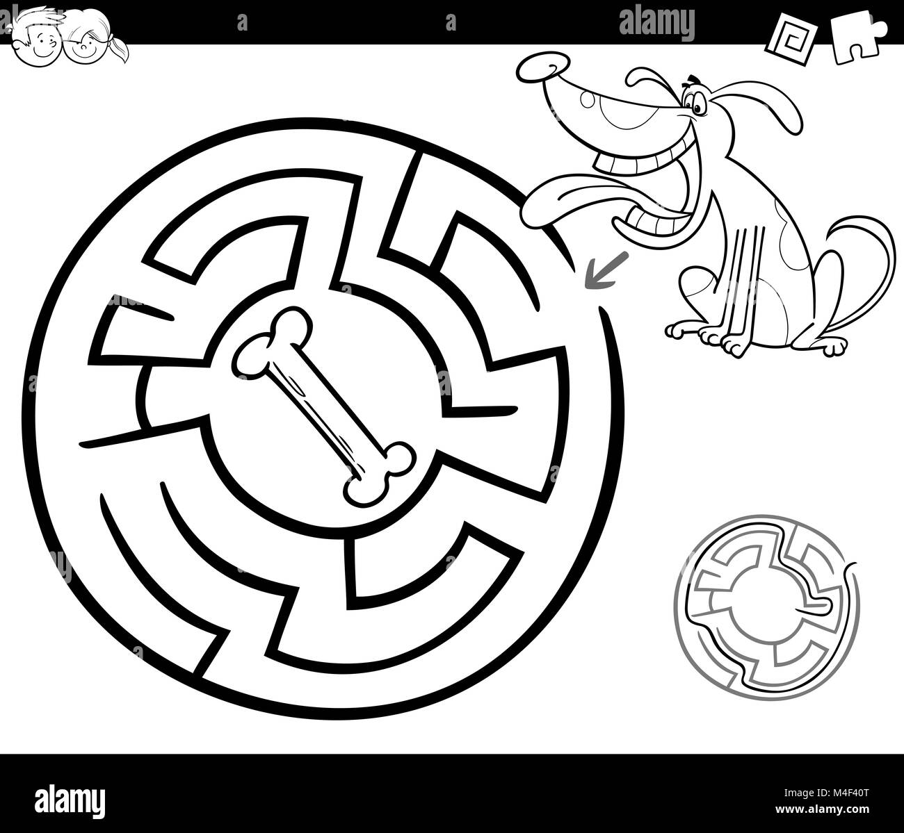Maze with dog coloring page stock photo 174894744 alamy