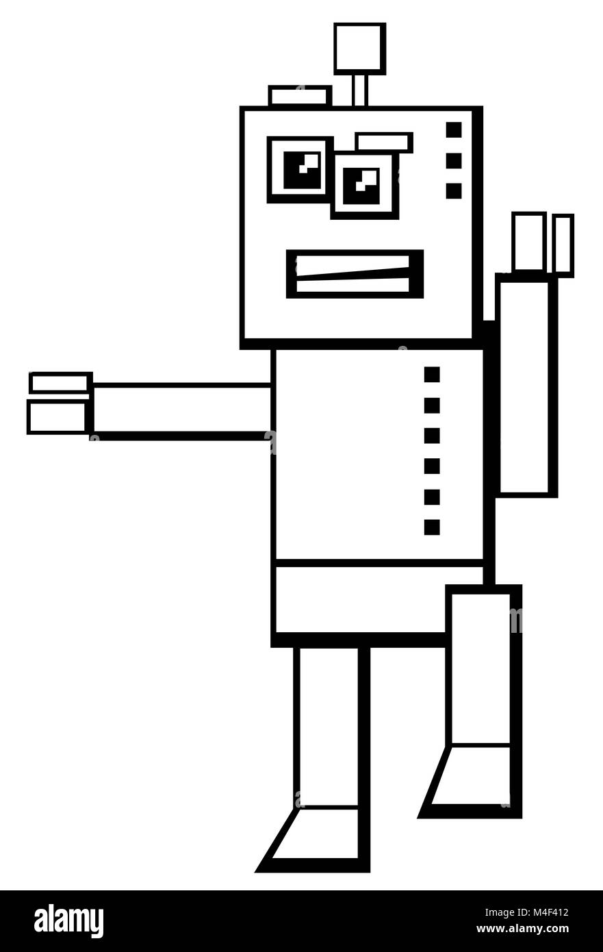 robot character coloring book - Stock Image