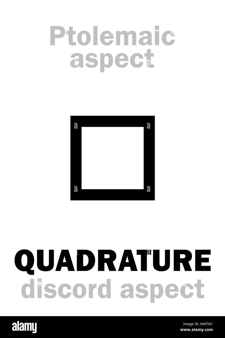 Astrology: QUADRATURE (aspect) - Stock Image