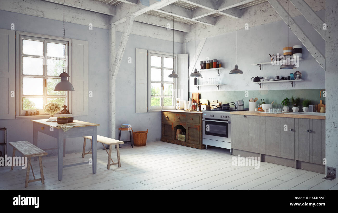 Vintage Style Kitchen Interior 3d Rendering Concept Design Stock Photo Alamy