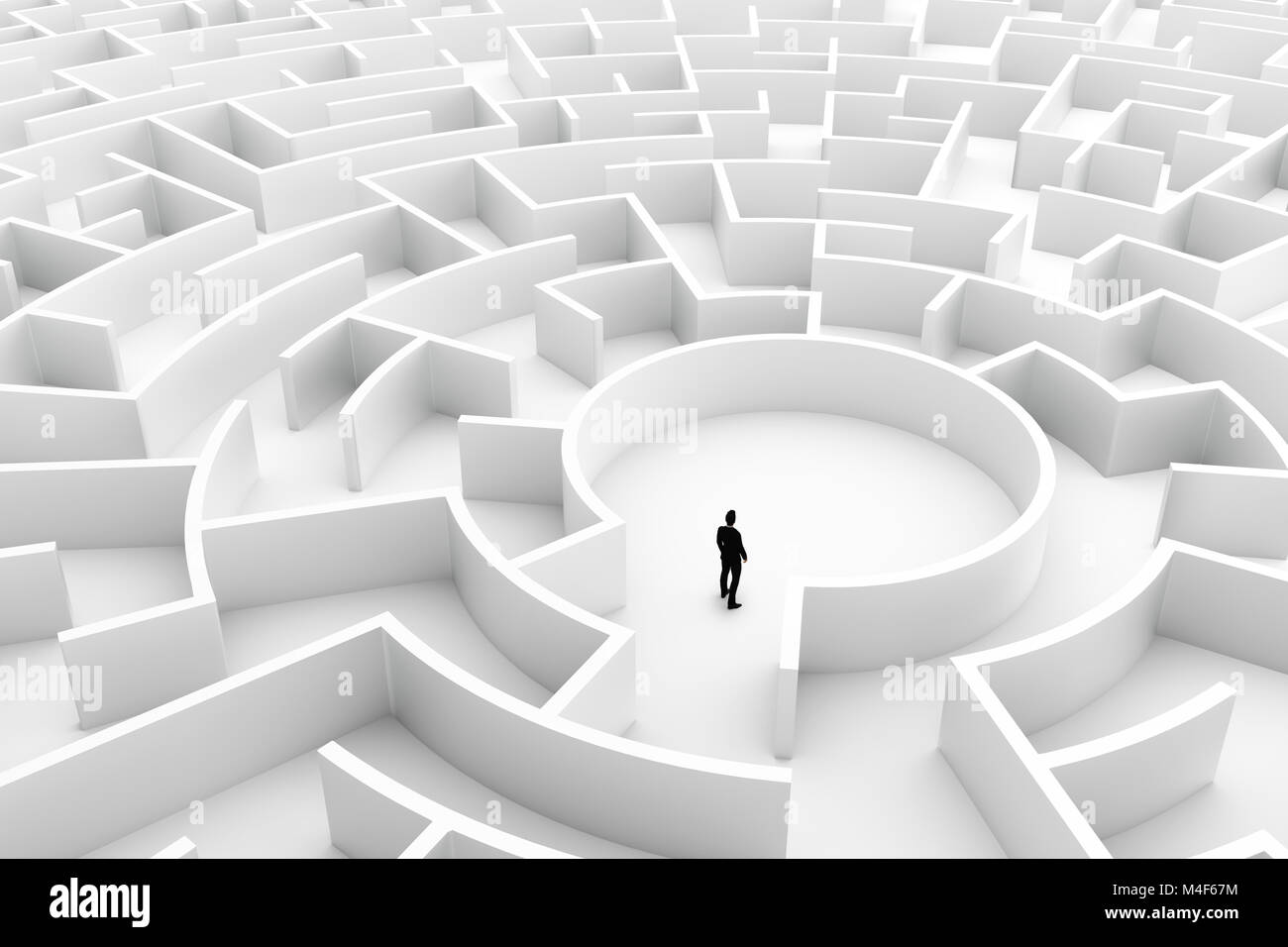 Businessman in the middle of the maze. Challenge concepts - Stock Image
