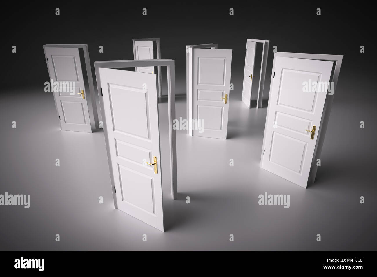 Many ways to choose from, open doors. Decision making - Stock Image